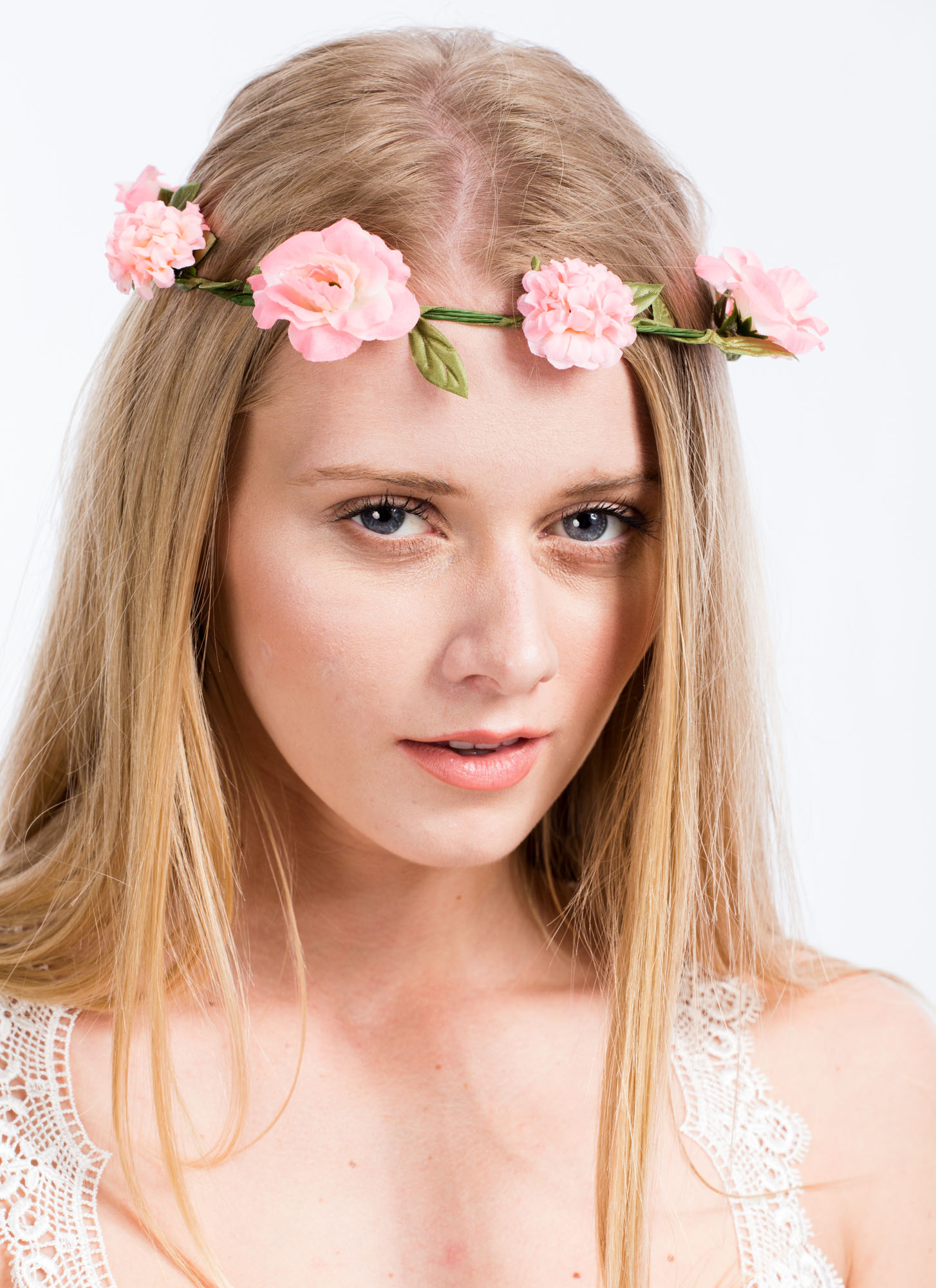 Leafy Flower Crown Wire Headband PINK