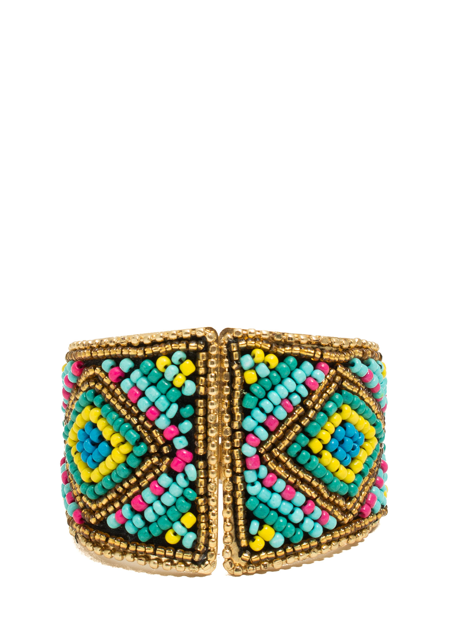 Tribal Tapestry Beaded Hinged Cuff TURQMULTI
