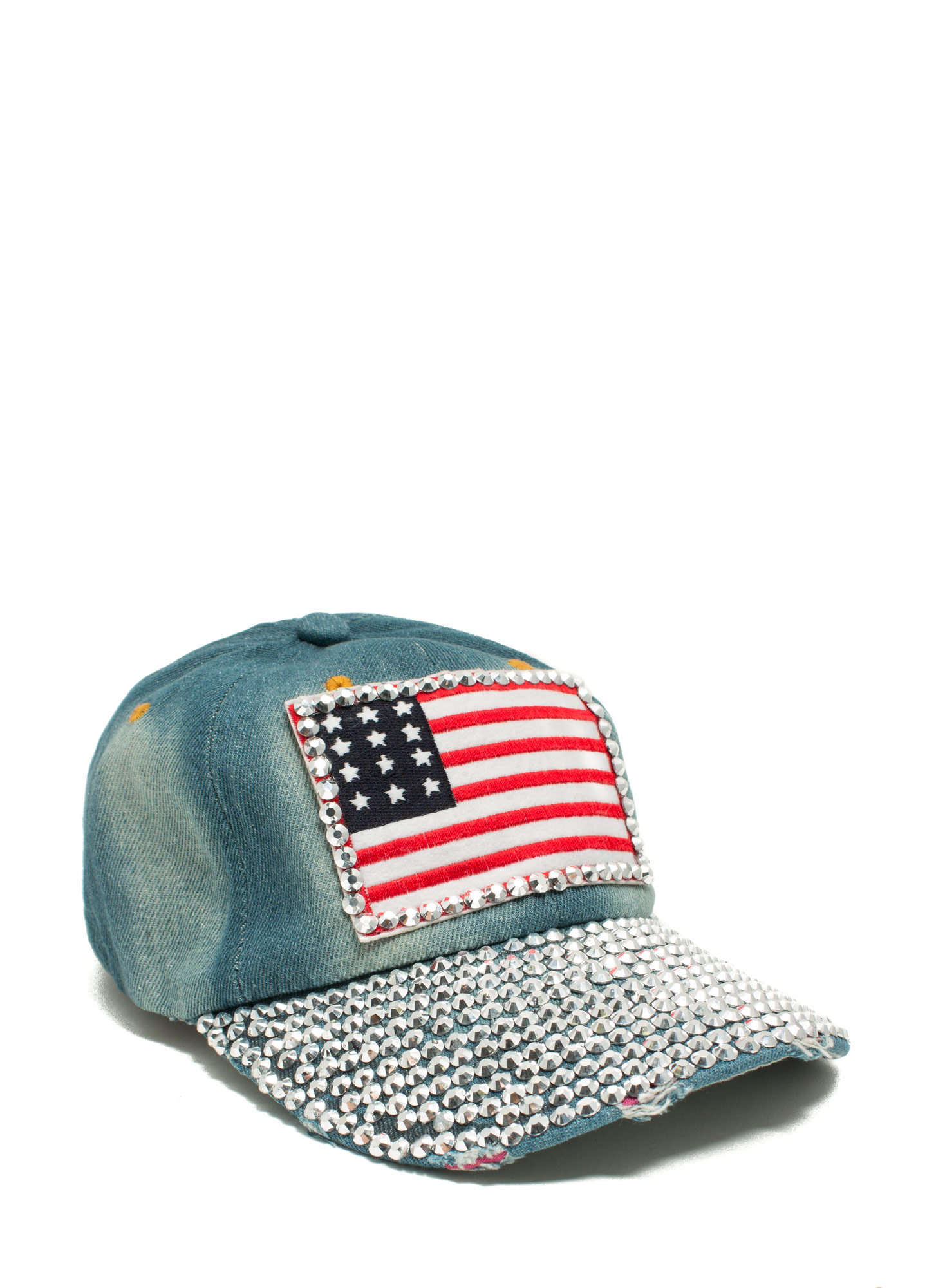 Jeweled American Flag Patch Denim Cap BLUEMULTI