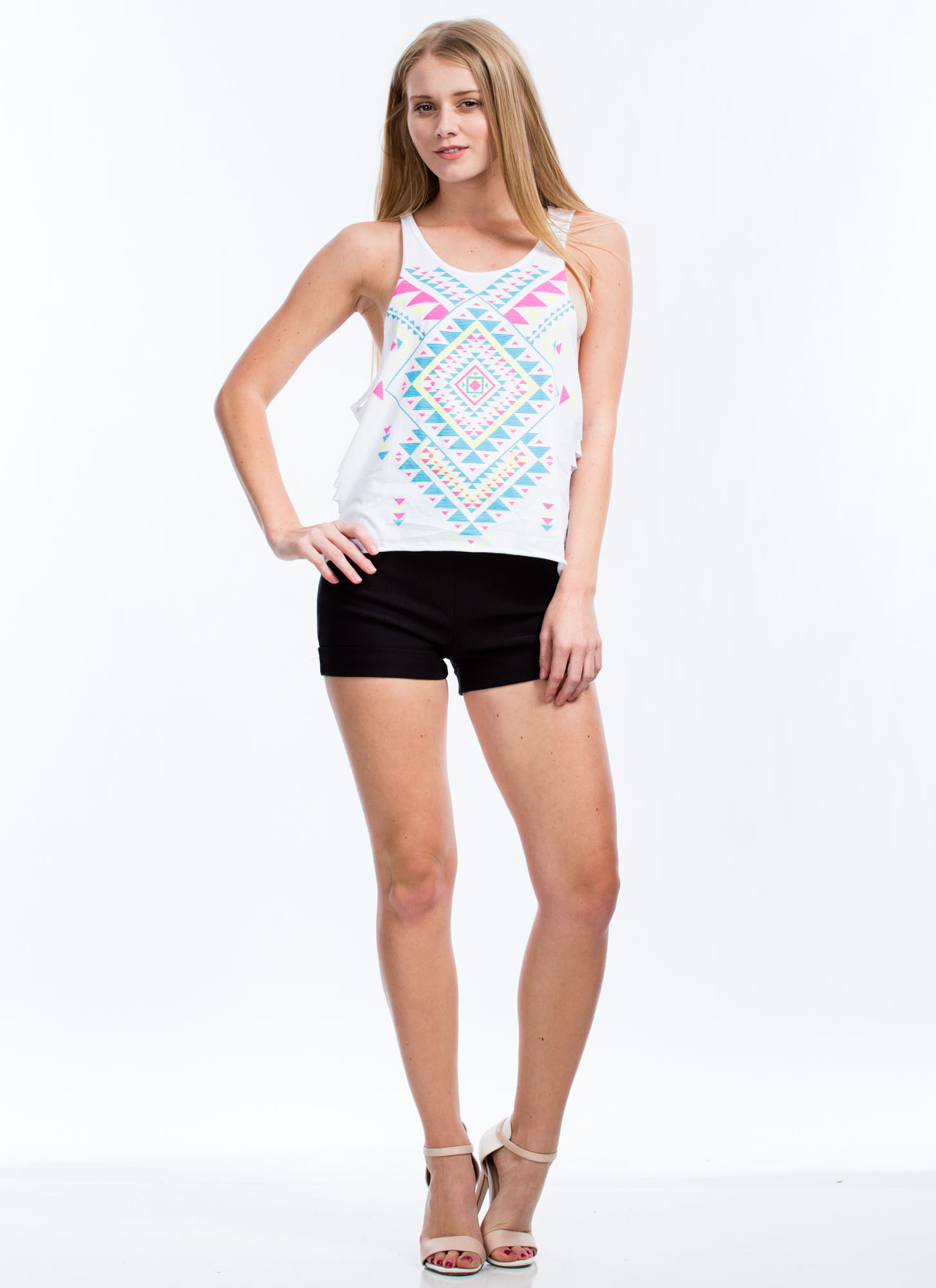 Aztec Allure Shredded Muscle Tank WHITE