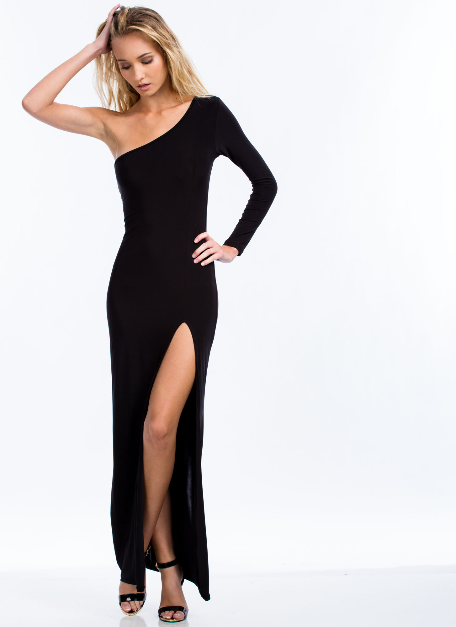 Take Sides One-Shoulder Slit Maxi BLACK