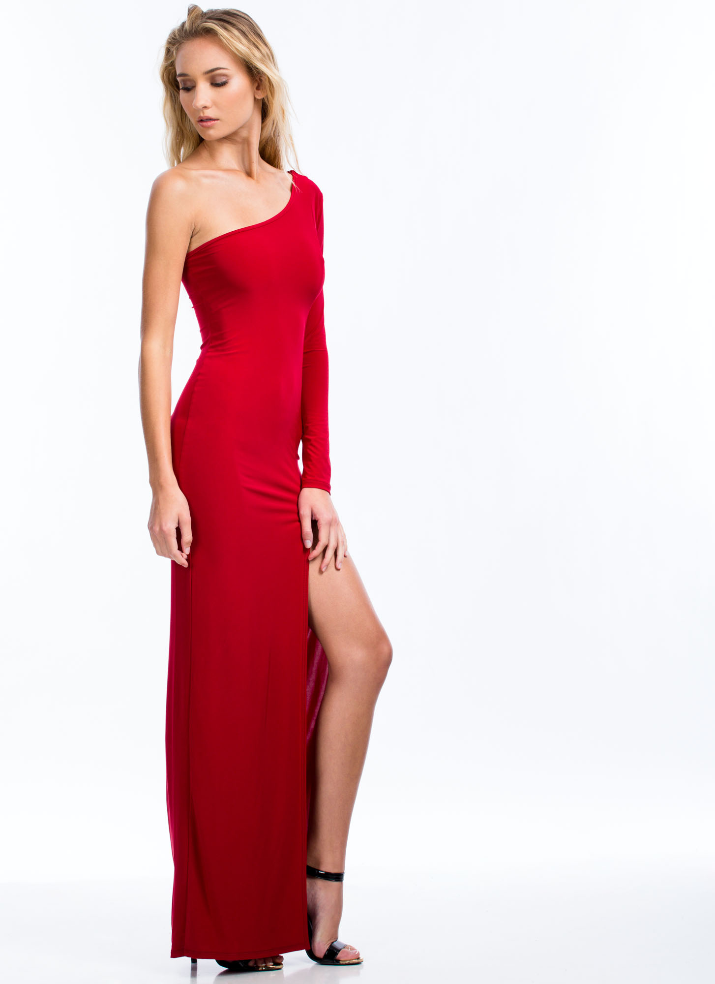 Take Sides One-Shoulder Slit Maxi RED