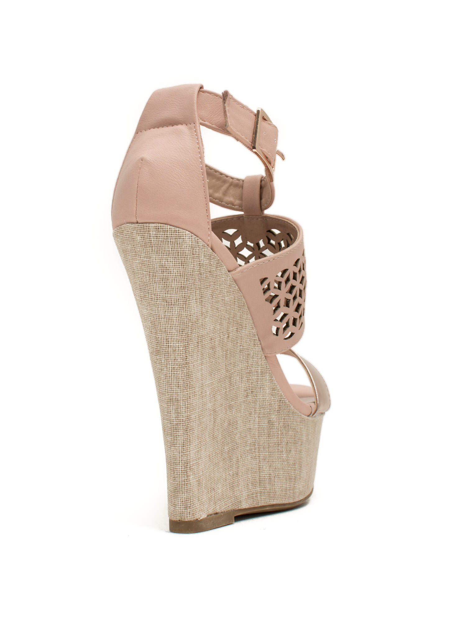 Lattice Rejoice Strappy Canvas Wedges ROSE