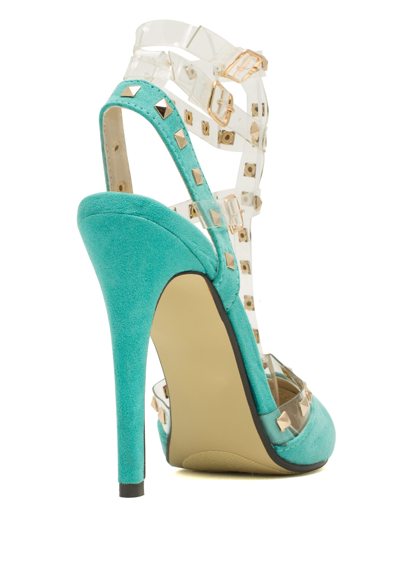 Clearly Studly Strappy Pointy Heels MINT