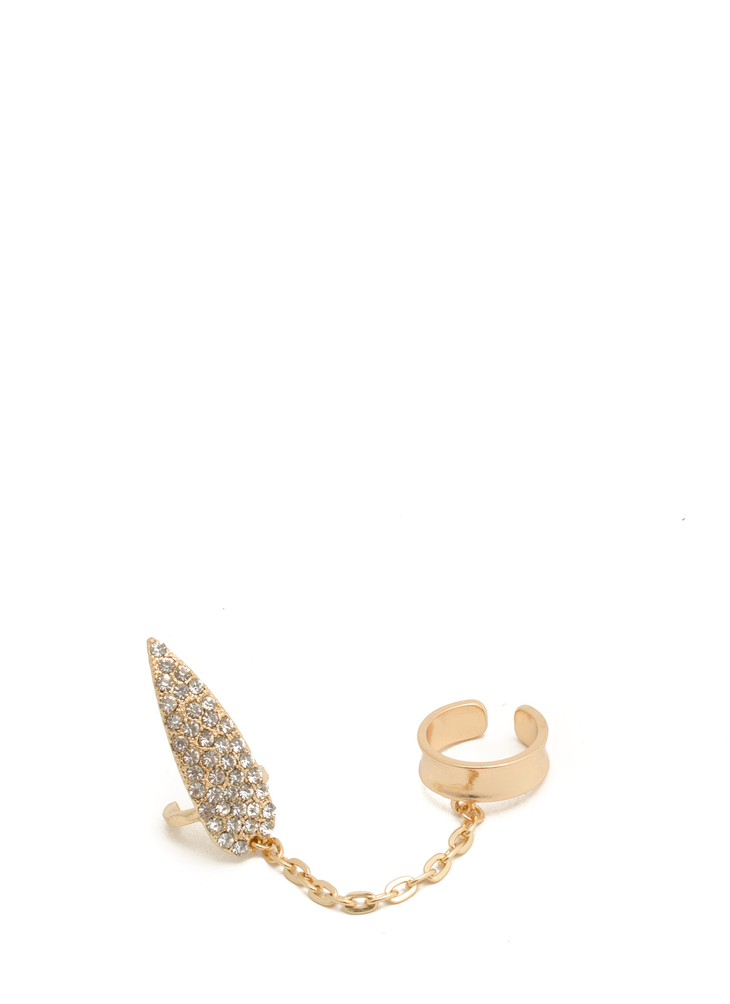 Rhinestone Spear Chain Nail Ring Set GOLD