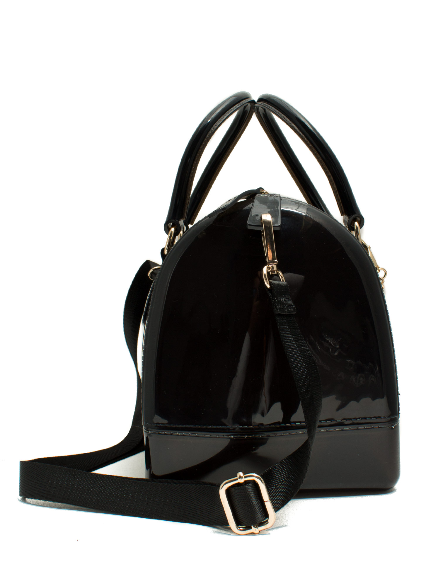 Charm Embellished Jelly Bowler Bag BLACK