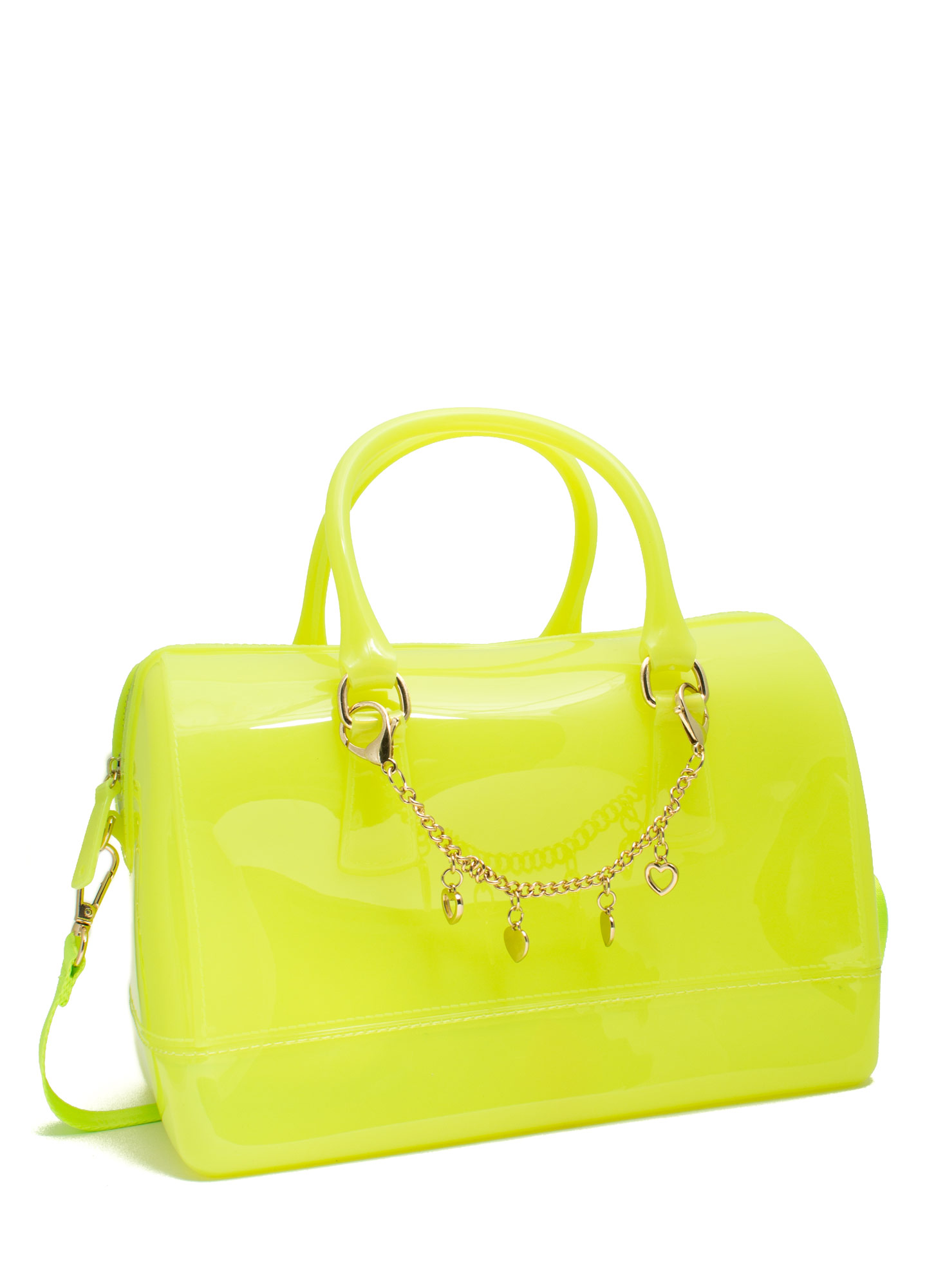 Charm Embellished Jelly Bowler Bag NEONYELLOW