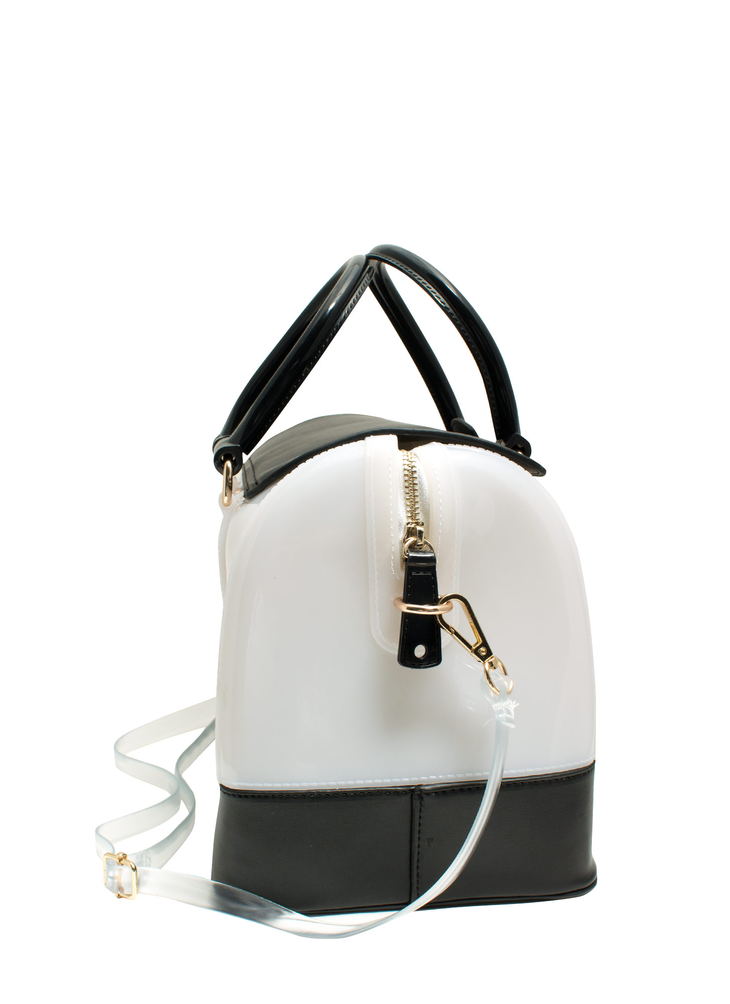 Mixed Media Bowler Bag WHITEBLACK