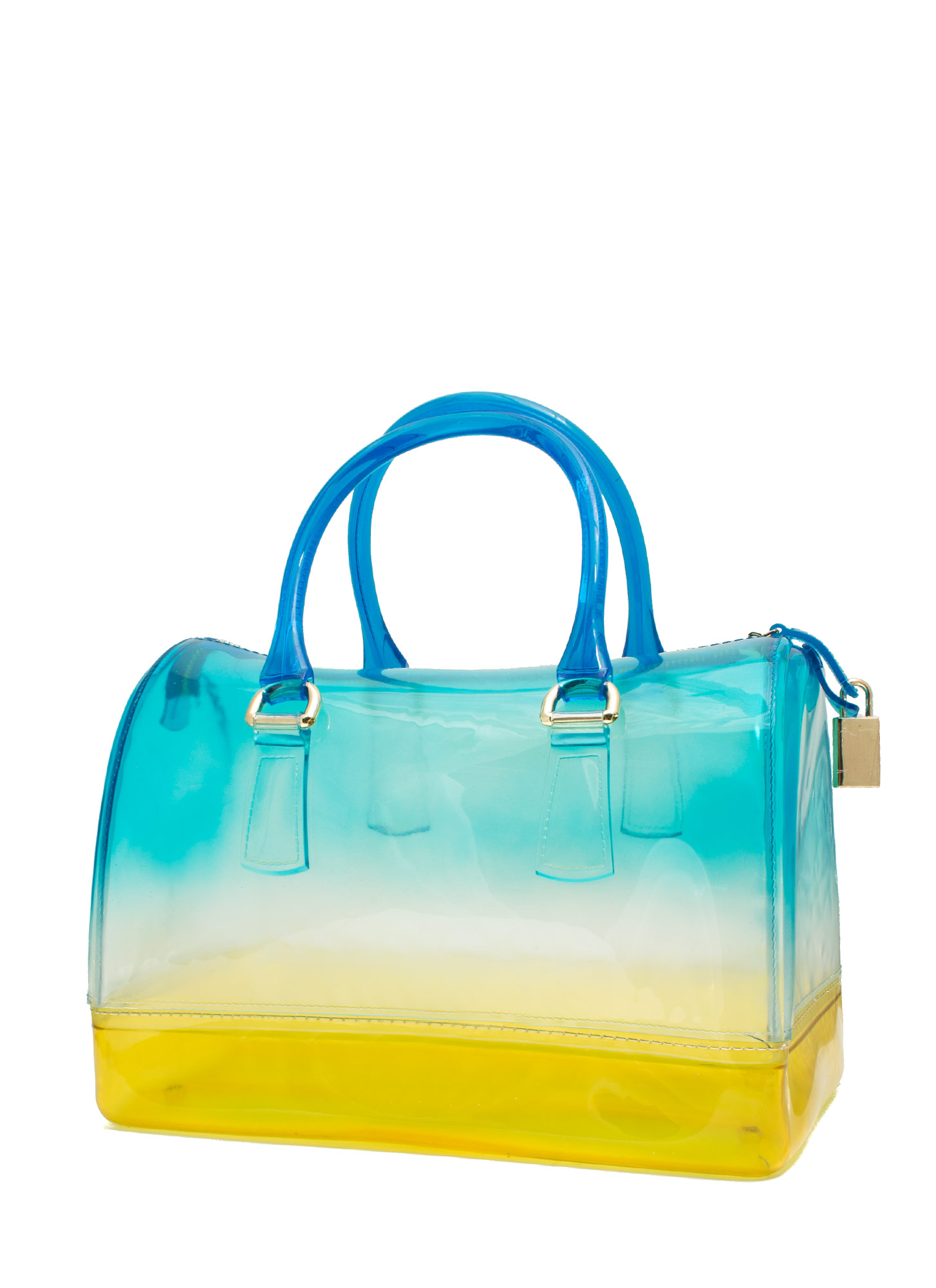 Two-Tone Jelly Bowler Bag BLUE