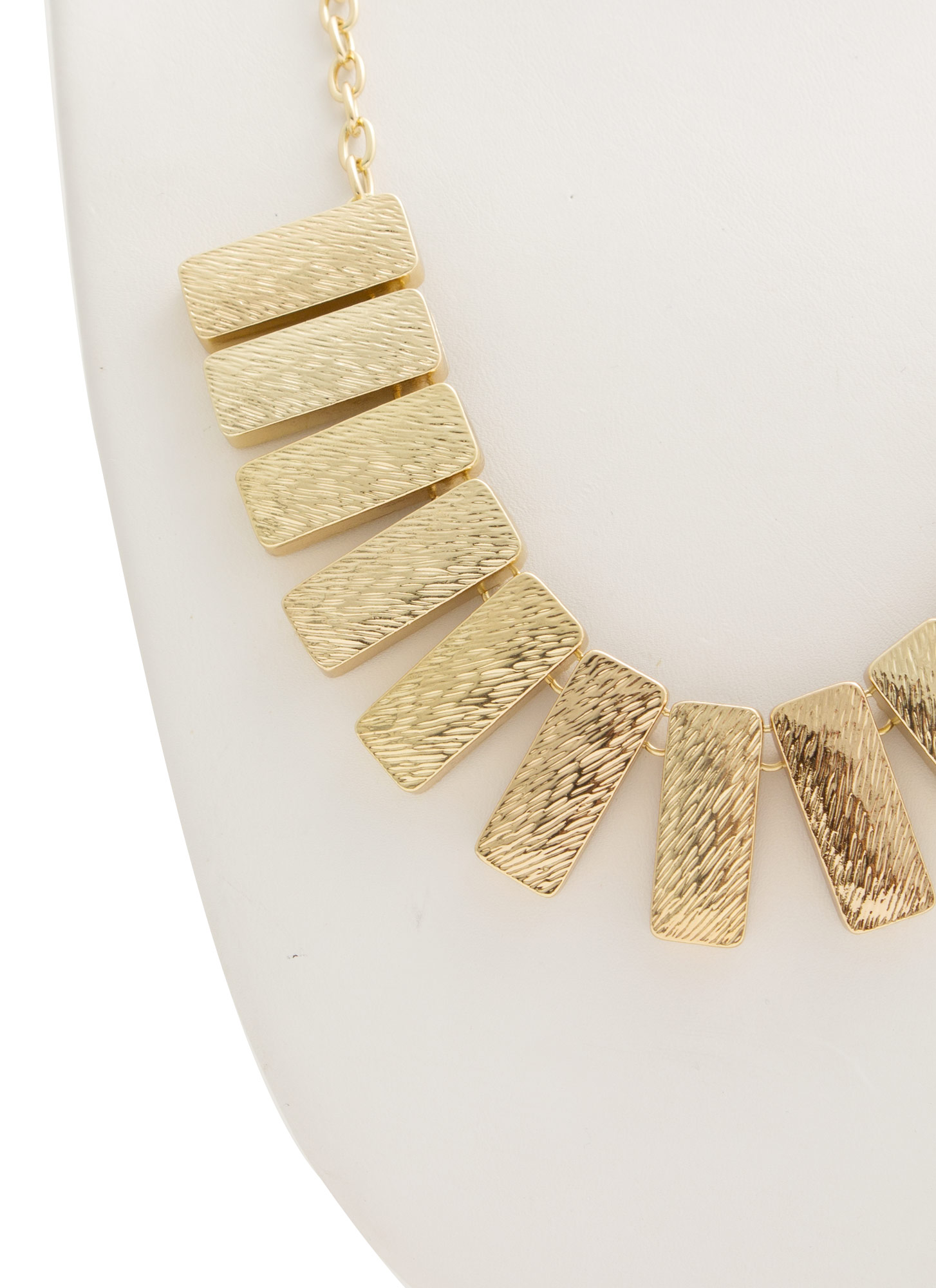 Bib Of Metallic Bars Necklace Set GOLD