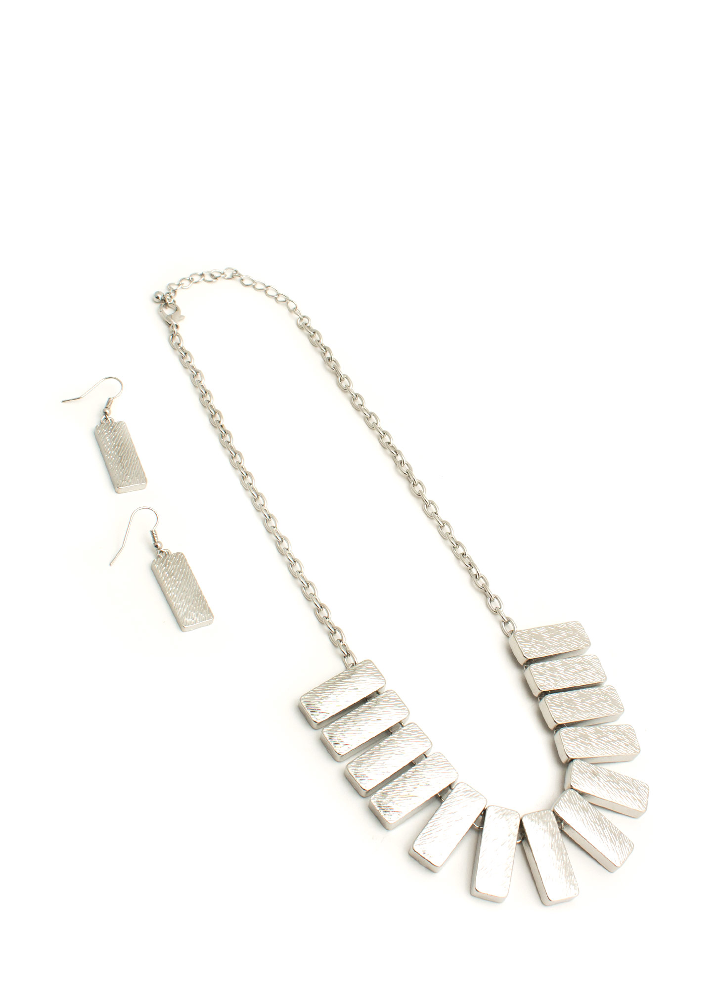 Bib Of Metallic Bars Necklace Set SILVER