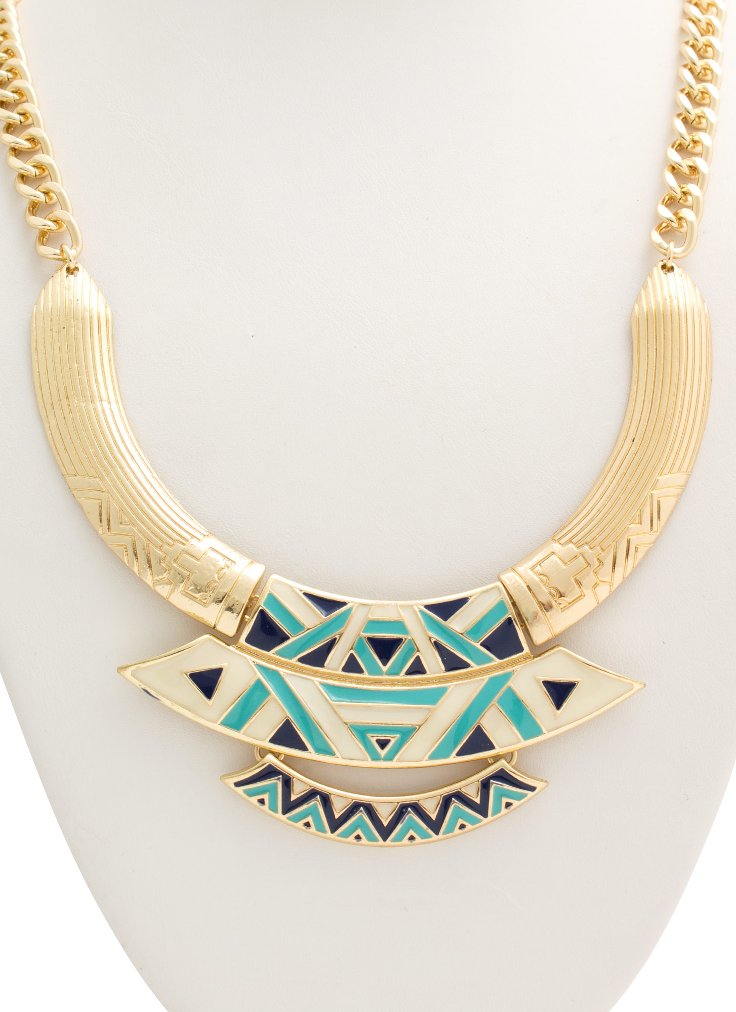 Bib Of Tribal Plates Necklace Set GOLDTURQ