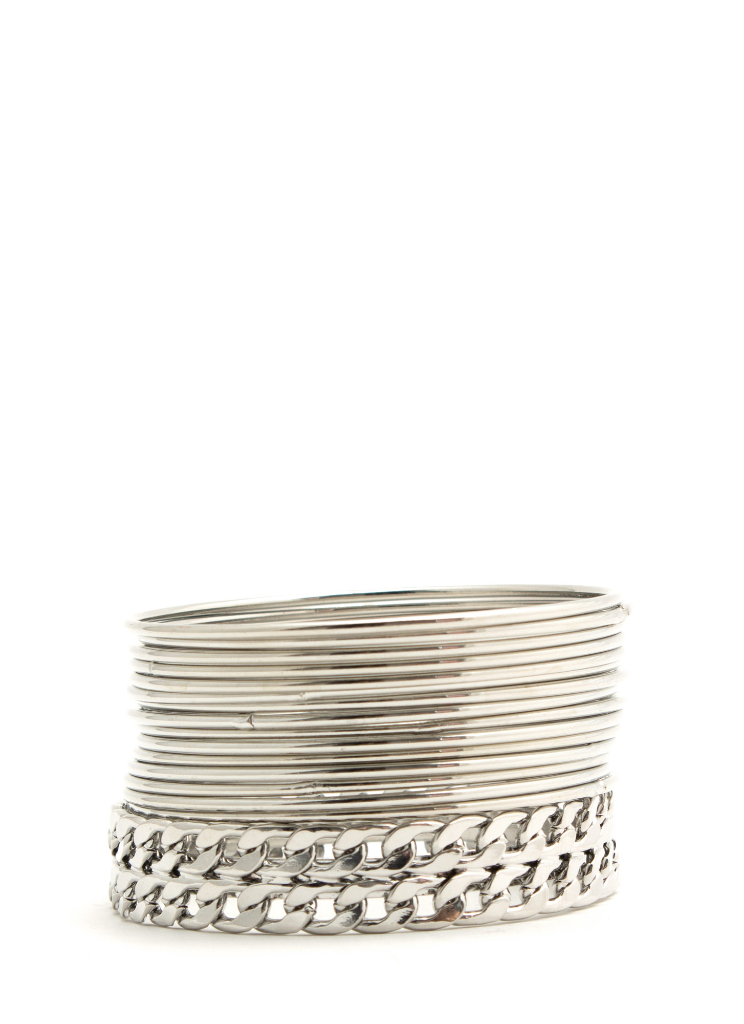 Shiny Curb Link Chain Bangle Set SILVER