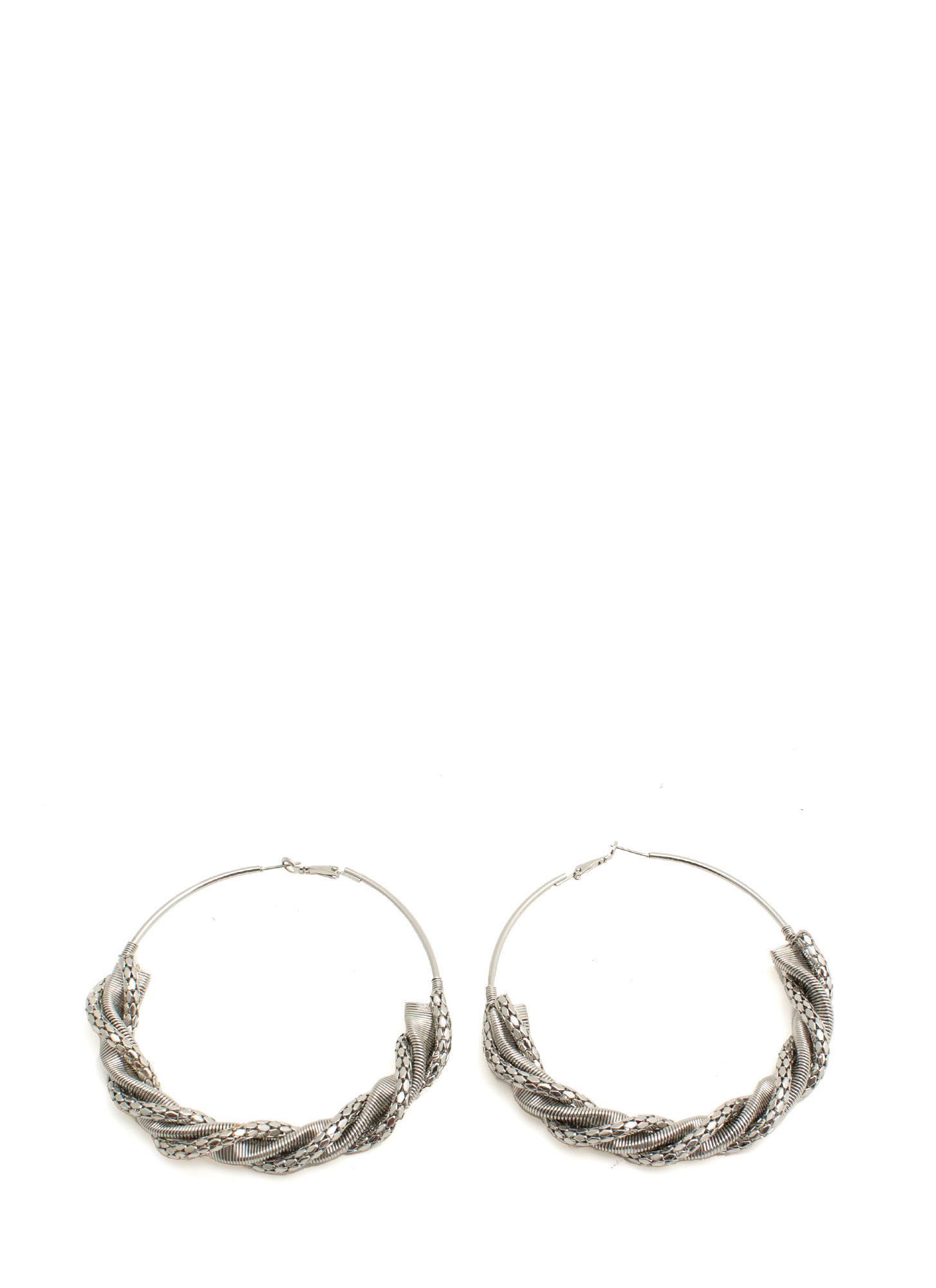 Oversized Twisted Chain Hoop Earrings SILVER