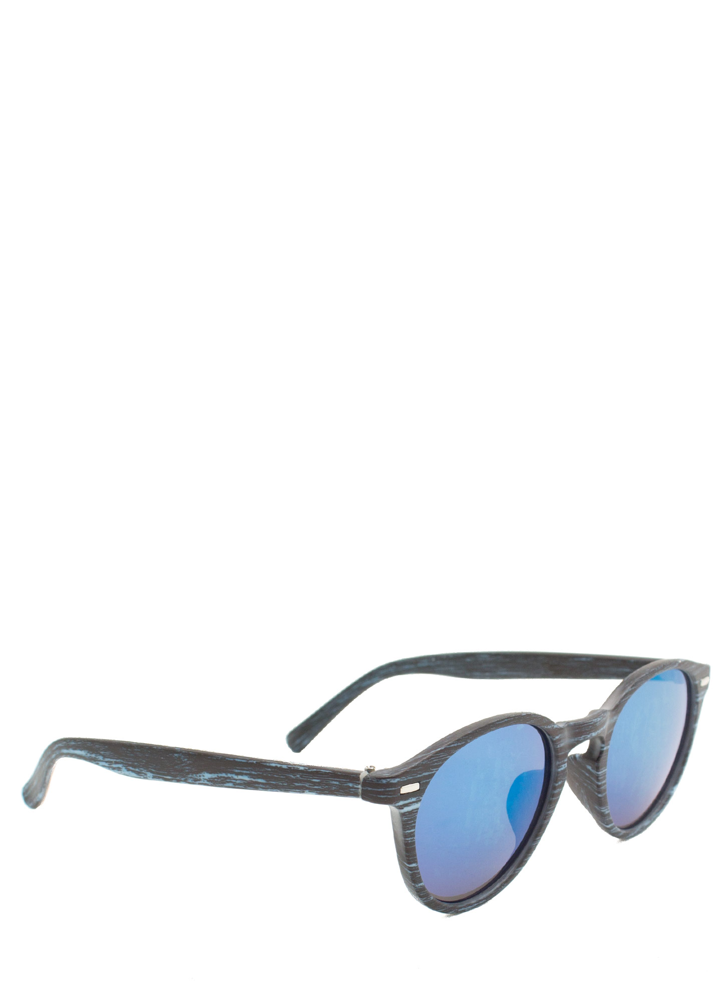 Wood Finish Reflective Sunglasses BLUE
