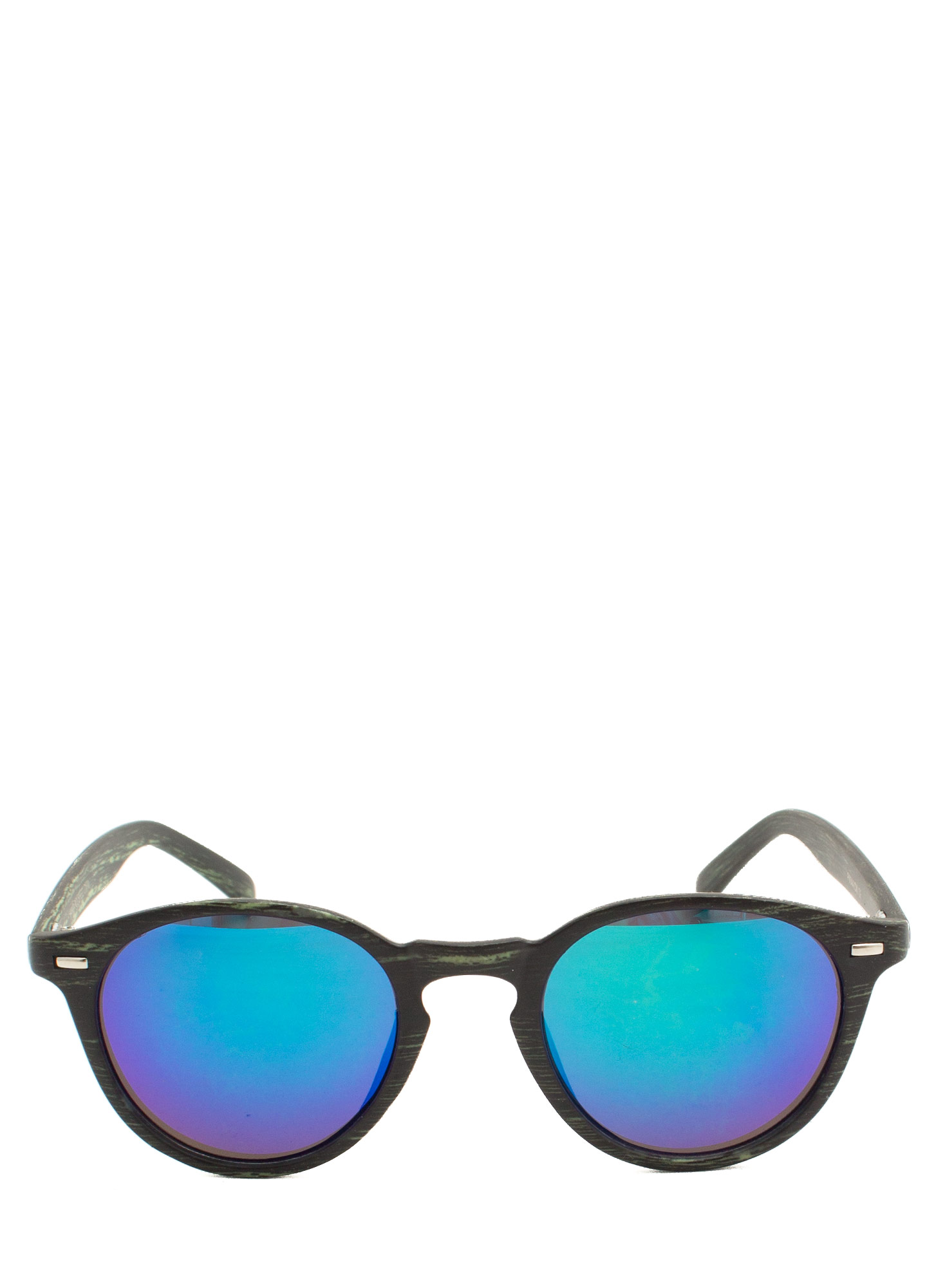 Wood Finish Reflective Sunglasses BLUEGREEN
