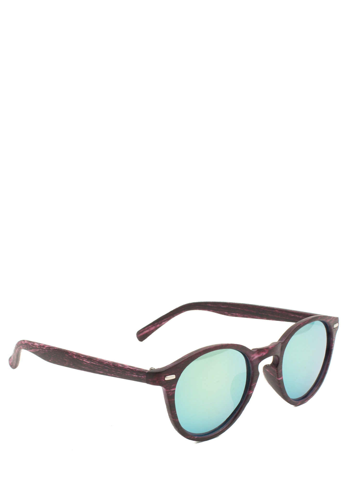 Wood Finish Reflective Sunglasses OLIVEBERRY
