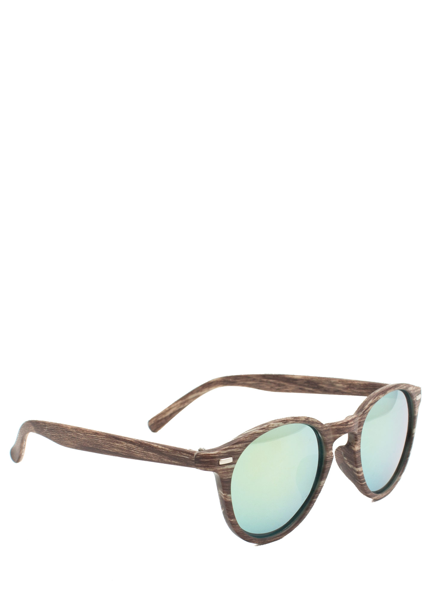 Wood Finish Reflective Sunglasses OLIVEBROWN