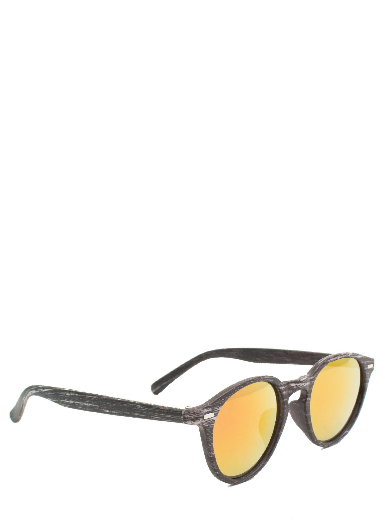 Wood Finish Reflective Sunglasses ORANGEGREY