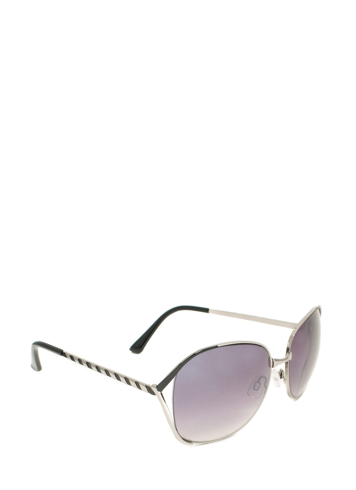 Oversized 'N Striped Sunglasses BLACK