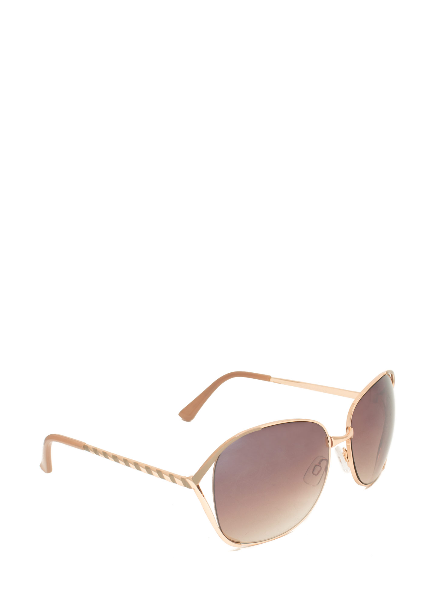 Oversized 'N Striped Sunglasses TAUPE