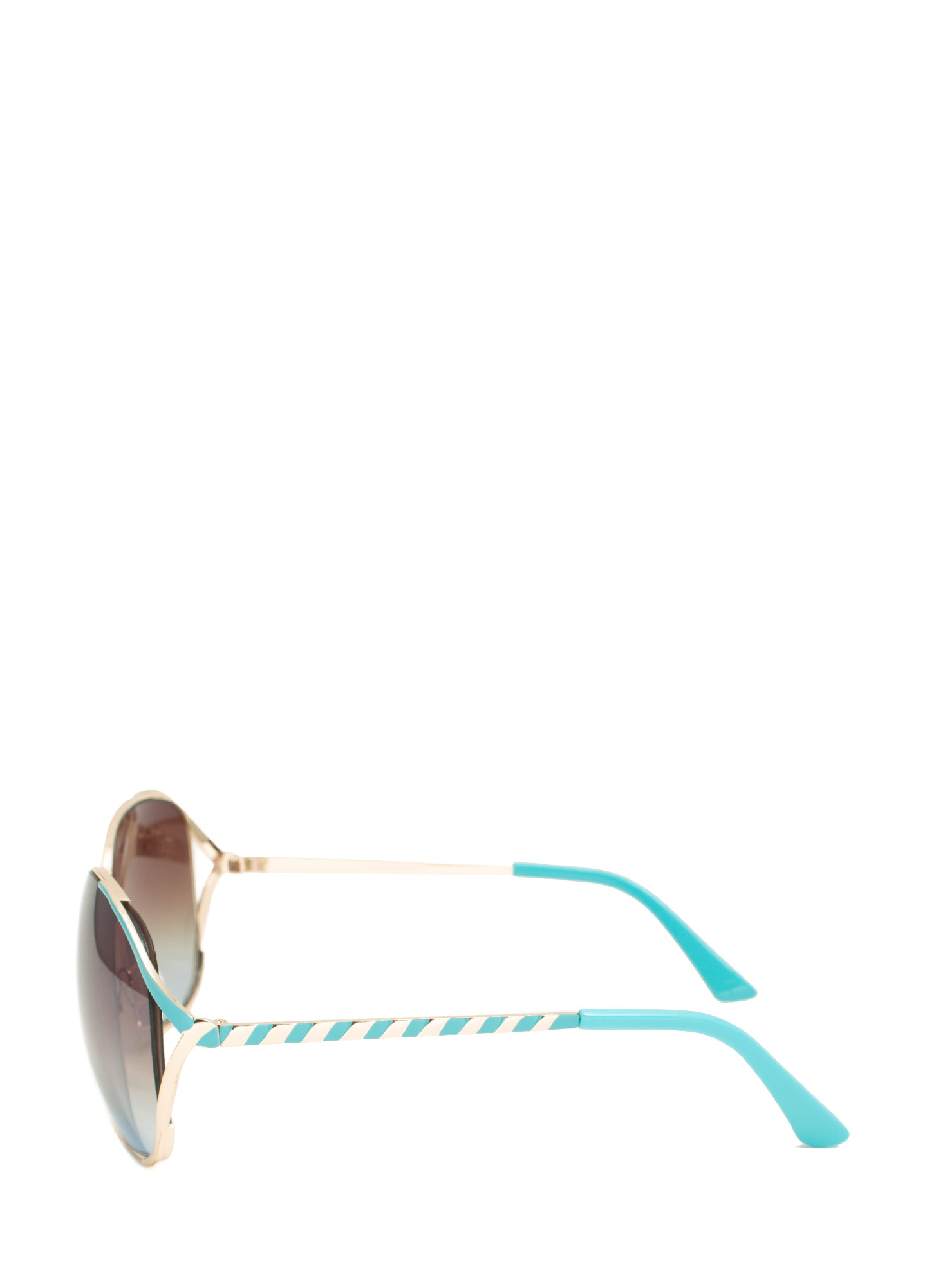 Oversized 'N Striped Sunglasses TURQUOISE