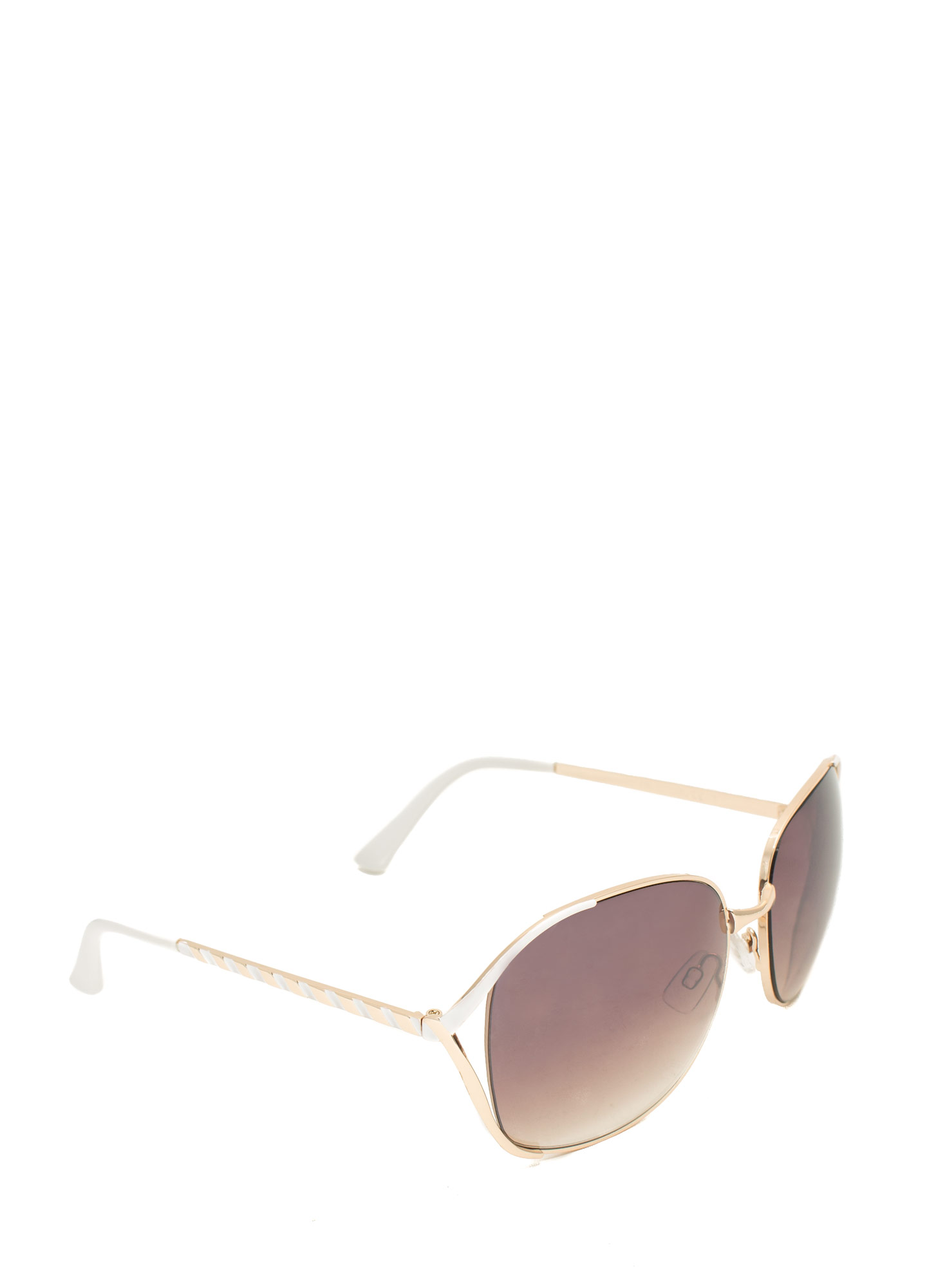 Oversized 'N Striped Sunglasses WHITE