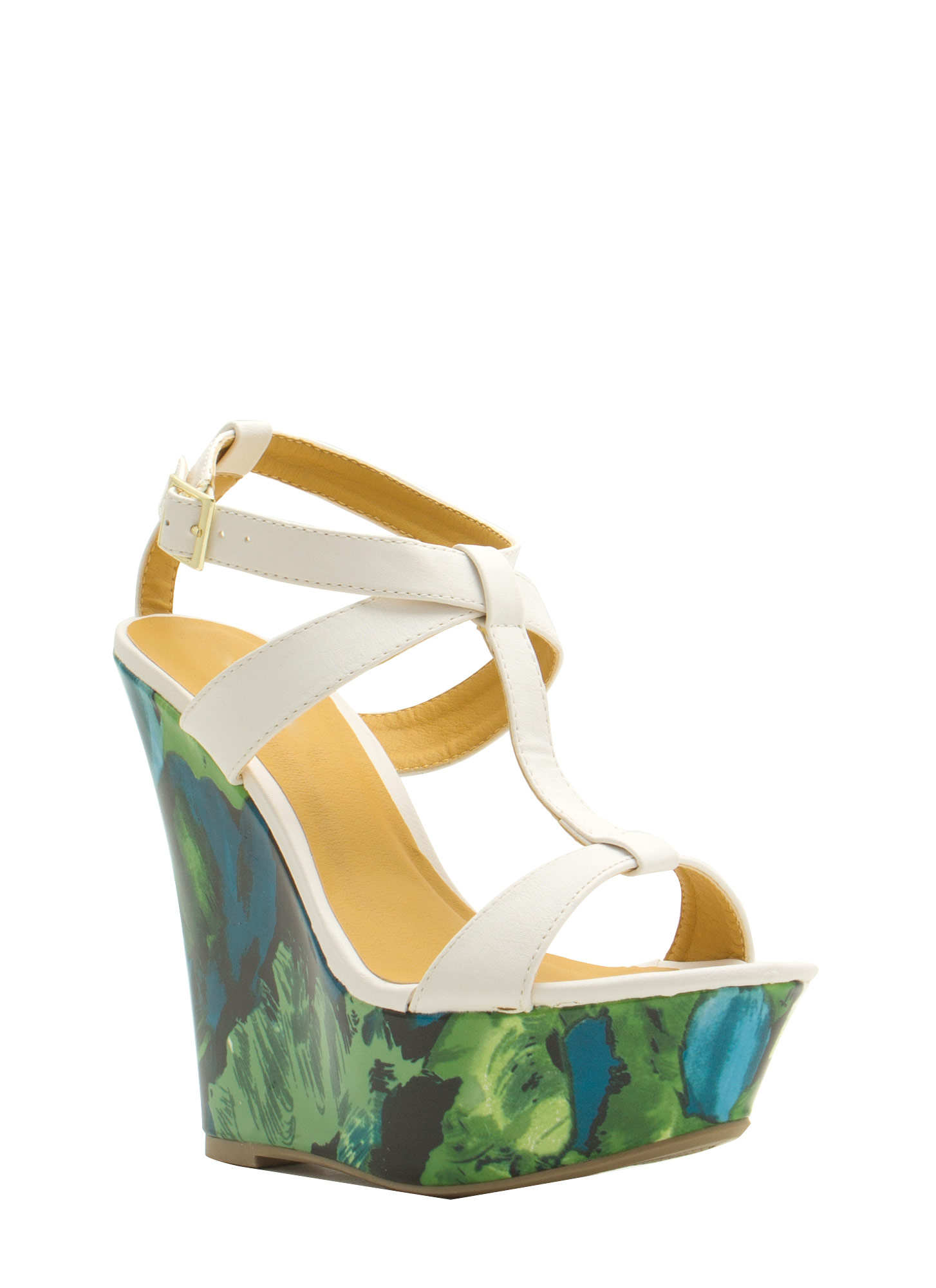 Painted Floral Platform Wedges WHITE