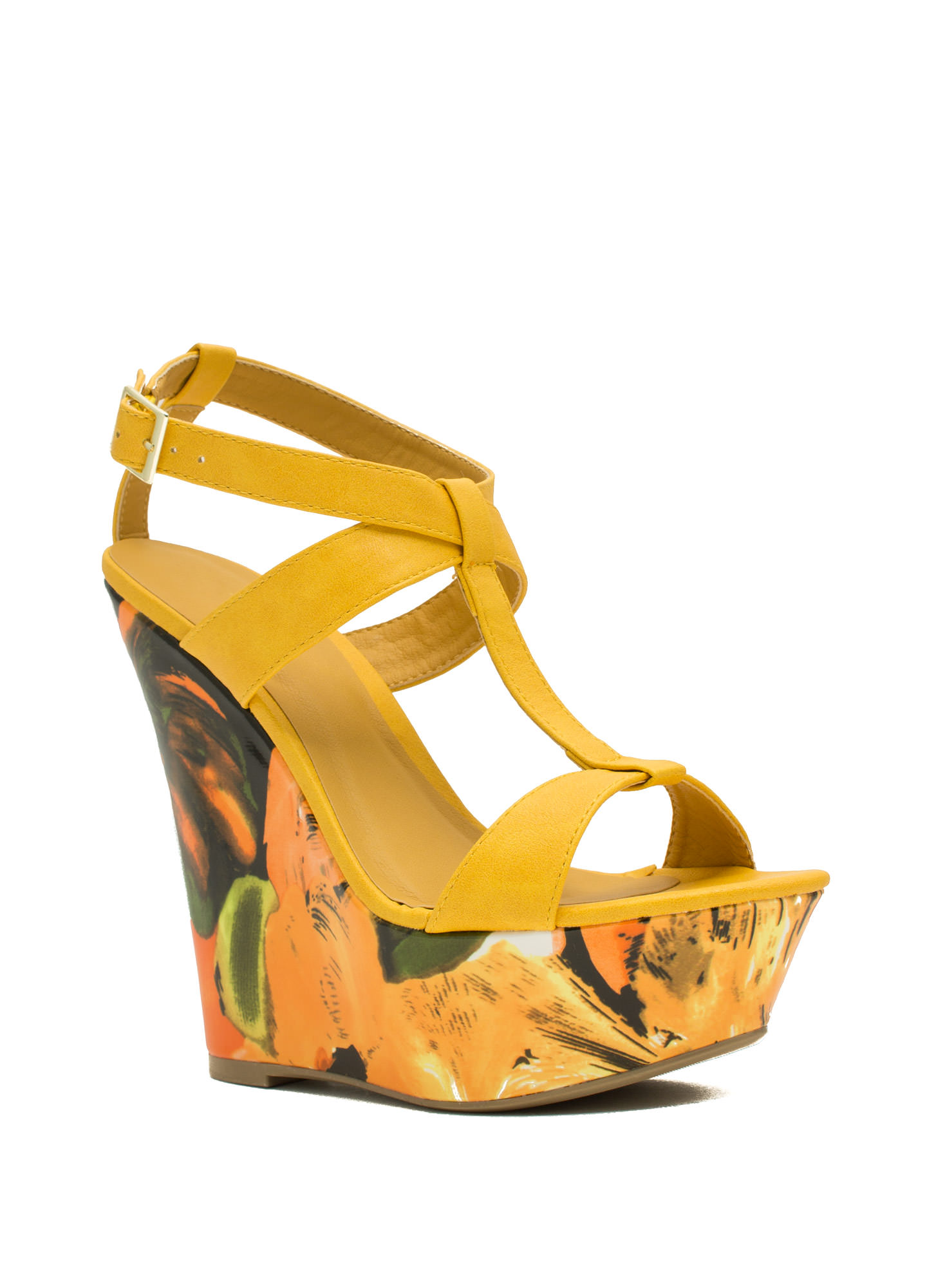 Painted Floral Platform Wedges YELLOW