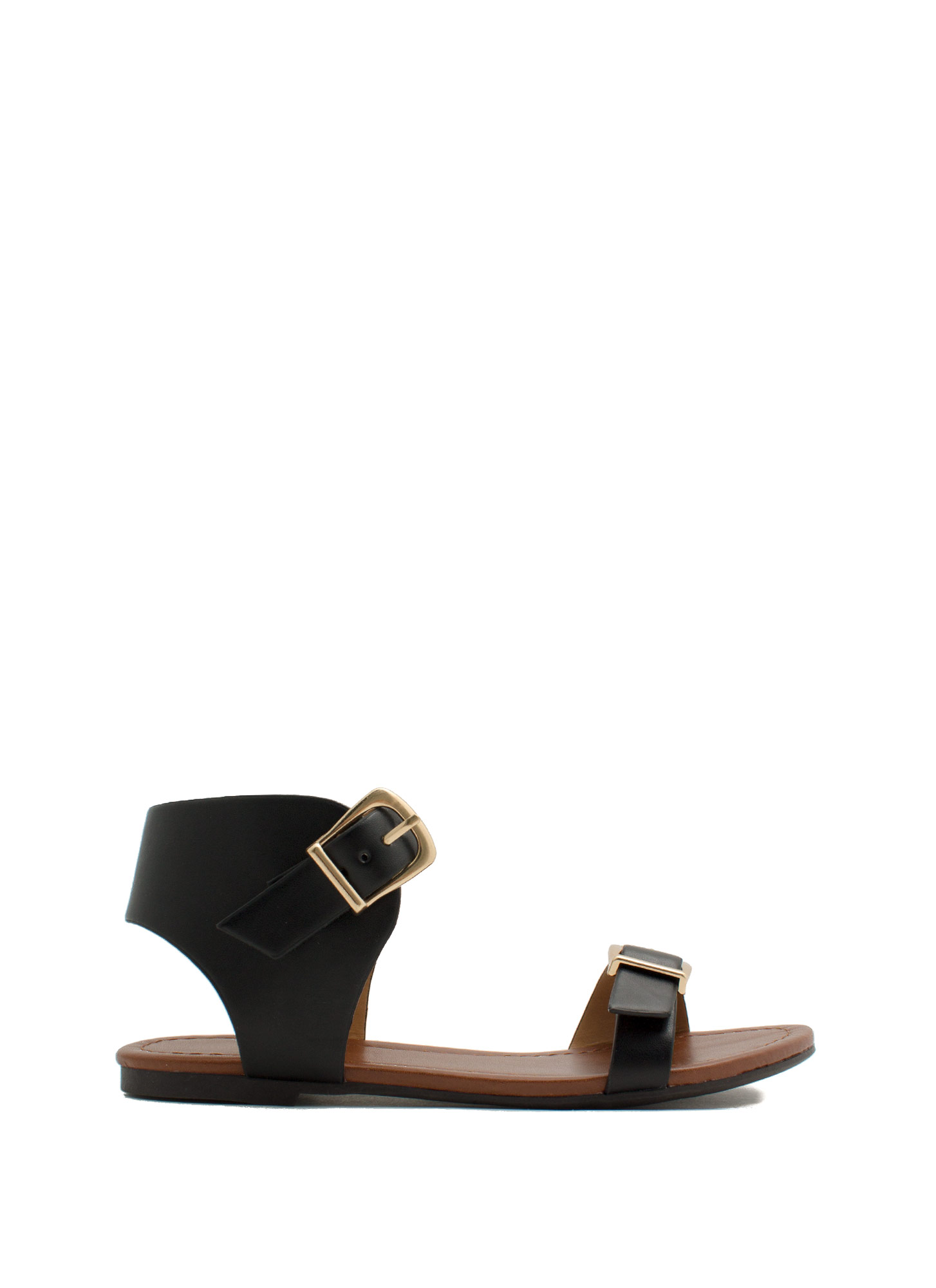 Buckle Stops Here Faux Leather Sandals BLACK