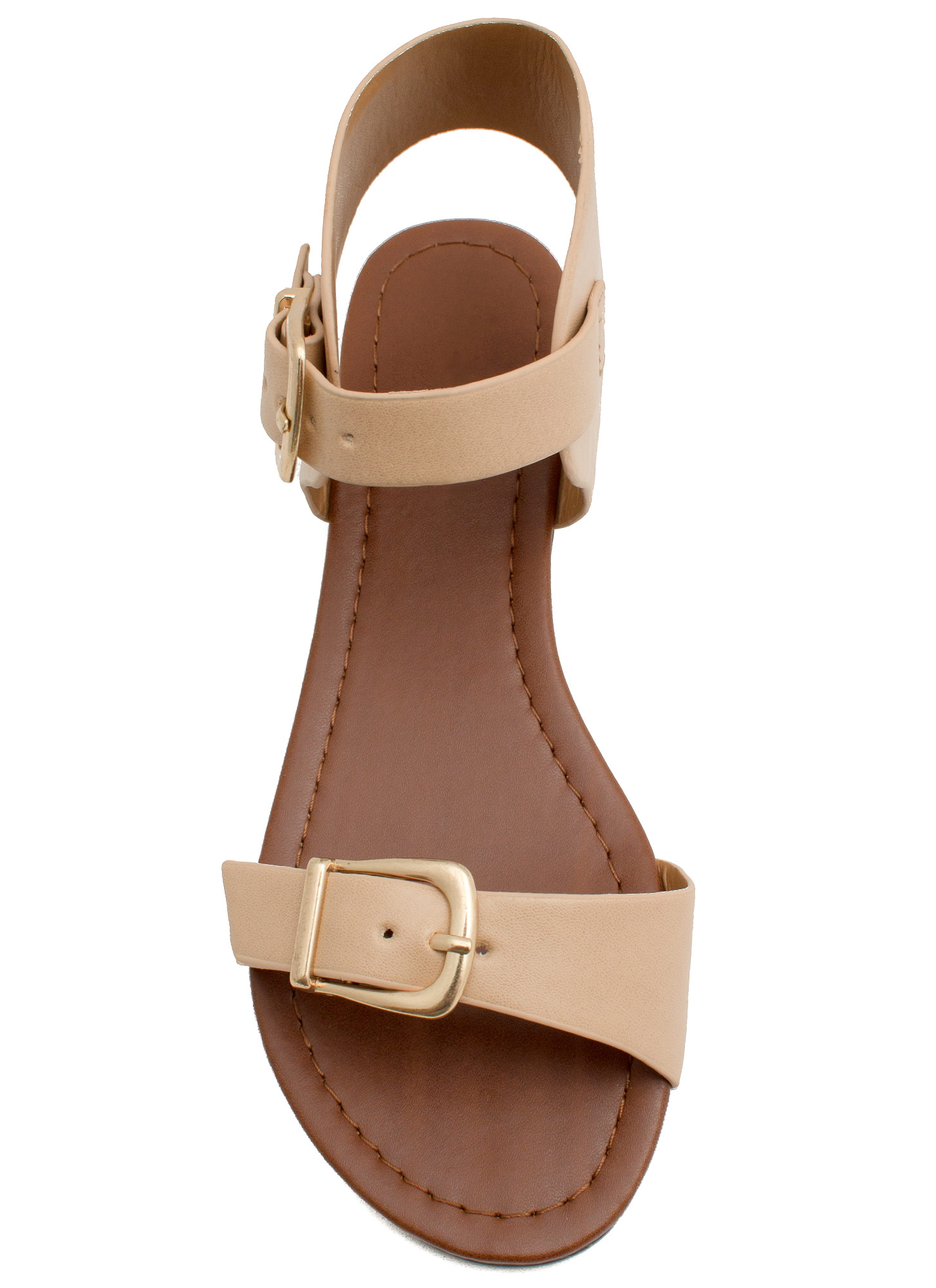 Buckle Stops Here Faux Leather Sandals NATURAL