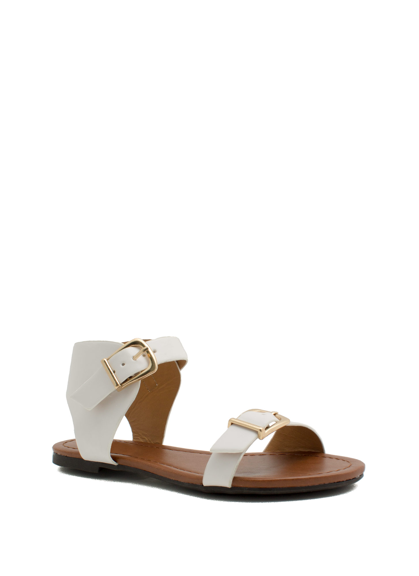 Buckle Stops Here Faux Leather Sandals OFFWHITE