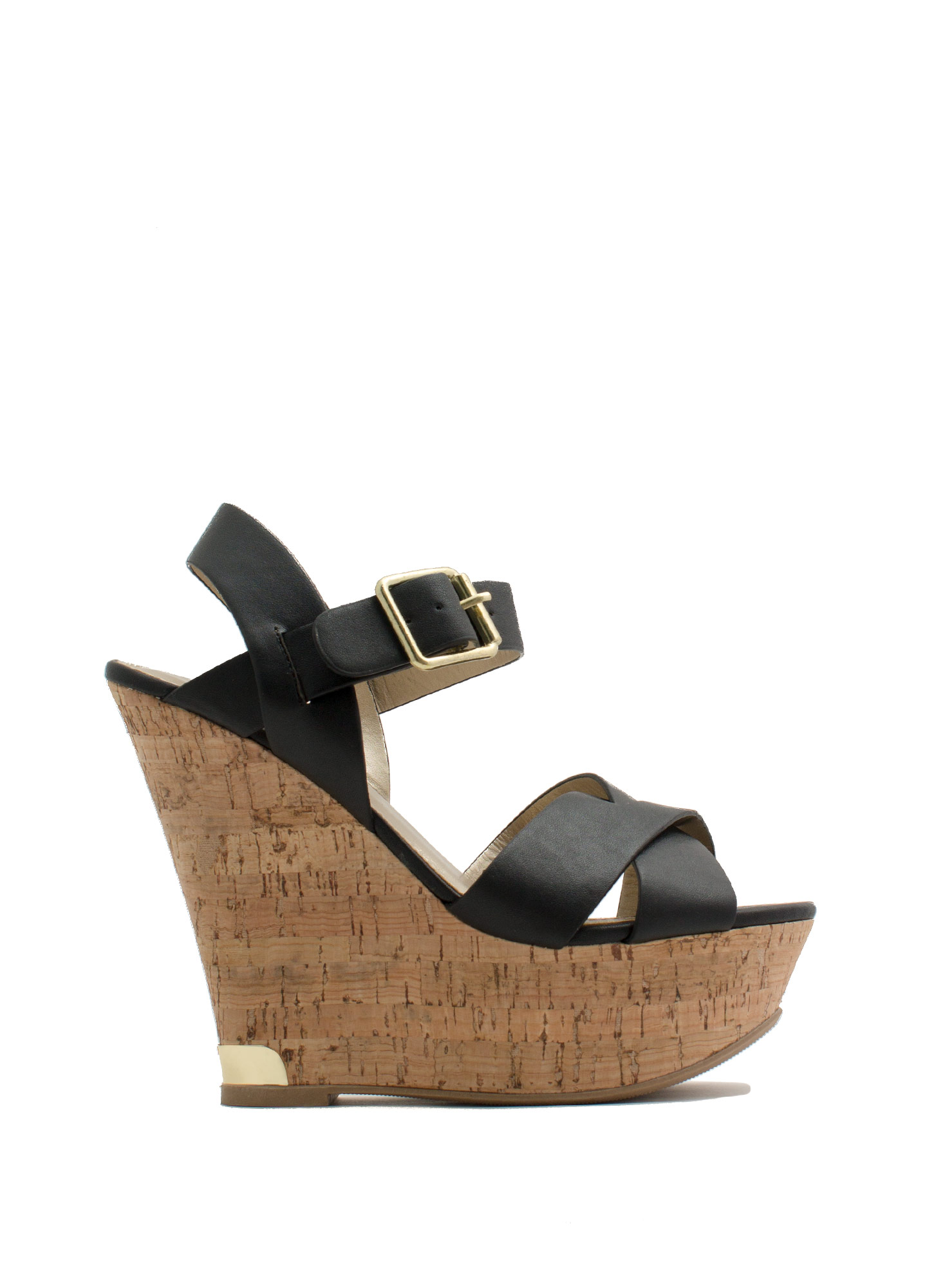 Crisscross-Fire Faux Leather Wedges BLACK
