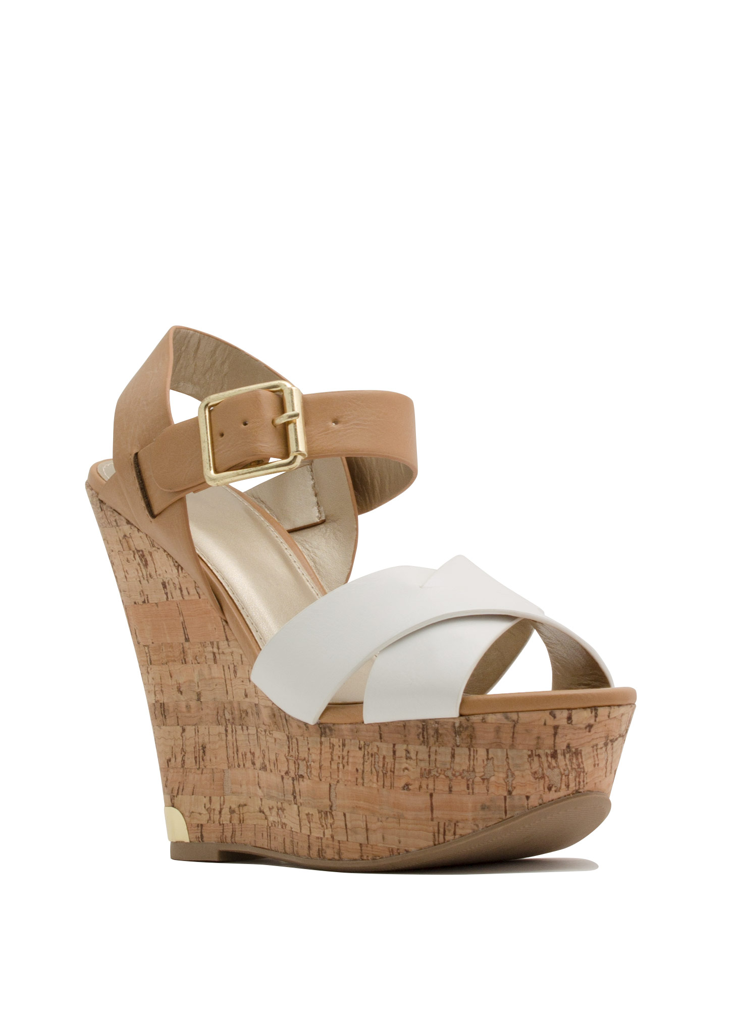 Crisscross-Fire Faux Leather Wedges WHITELTTAN
