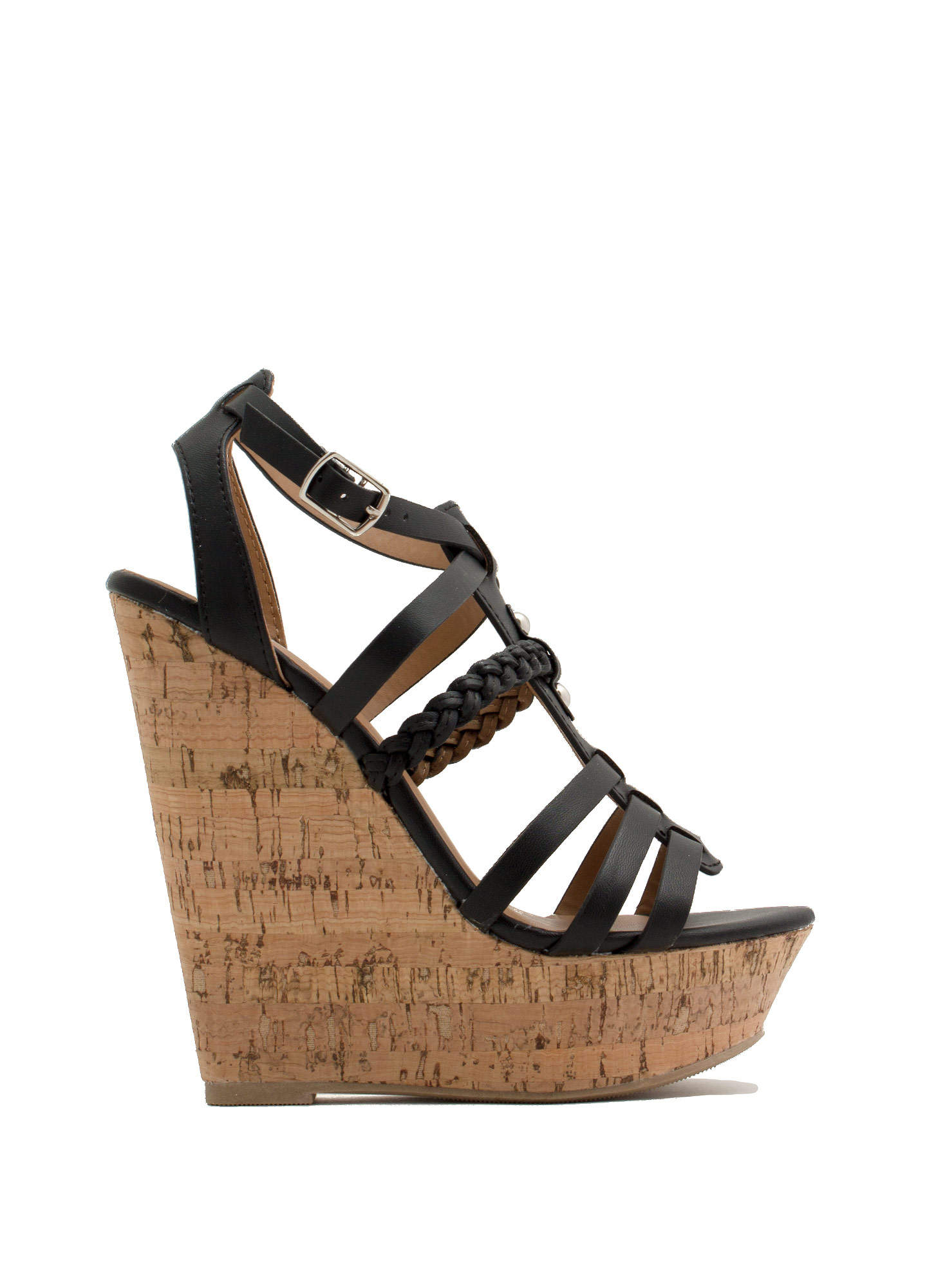 Braided 'N Strappy Gladiator Wedges BLACK