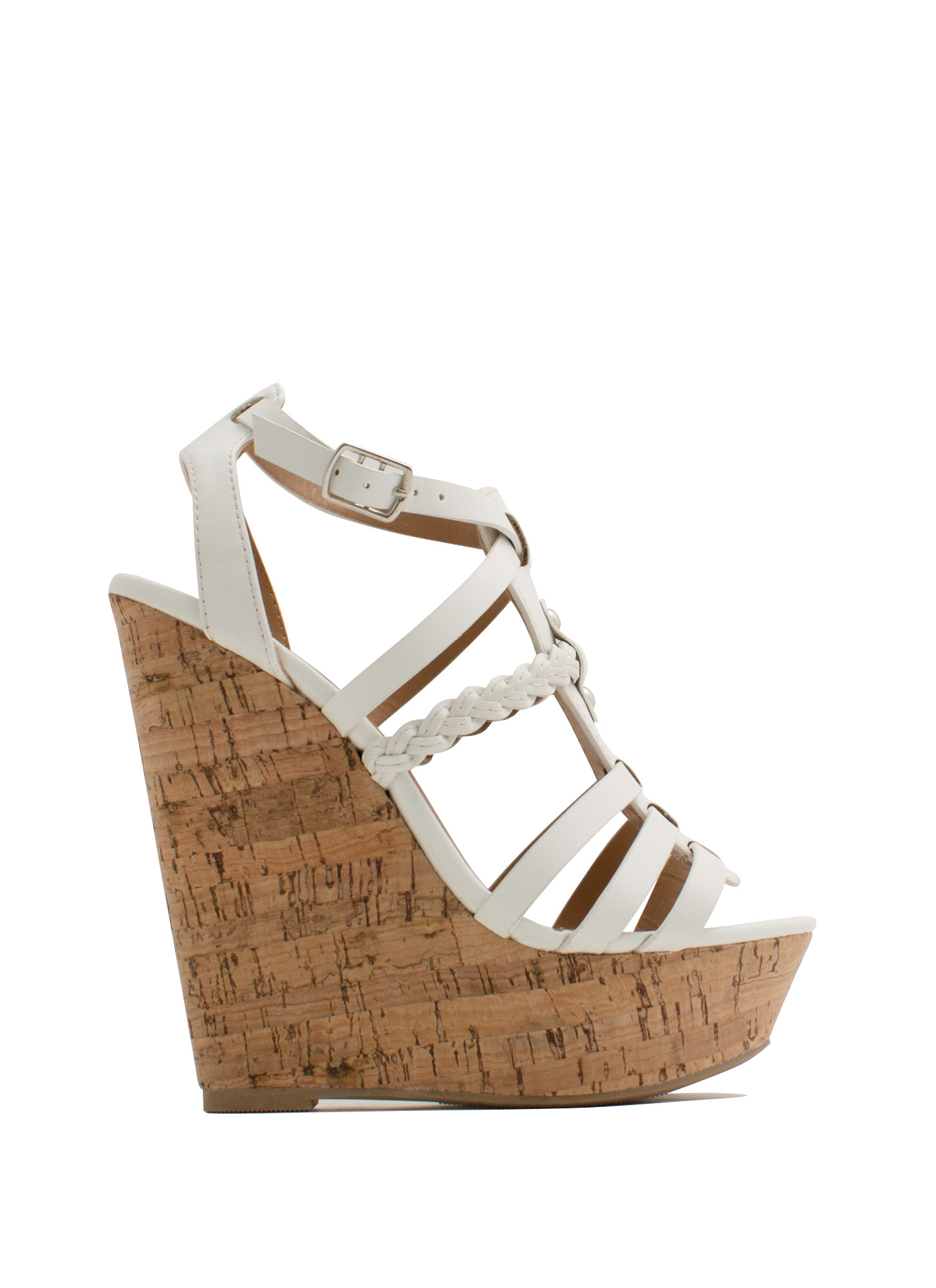 Braided 'N Strappy Gladiator Wedges WHITE