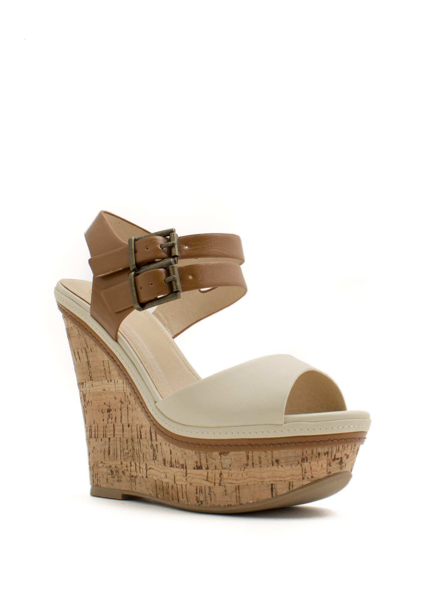 Double Down Strappy Faux Cork Wedges OFFWHITETAN