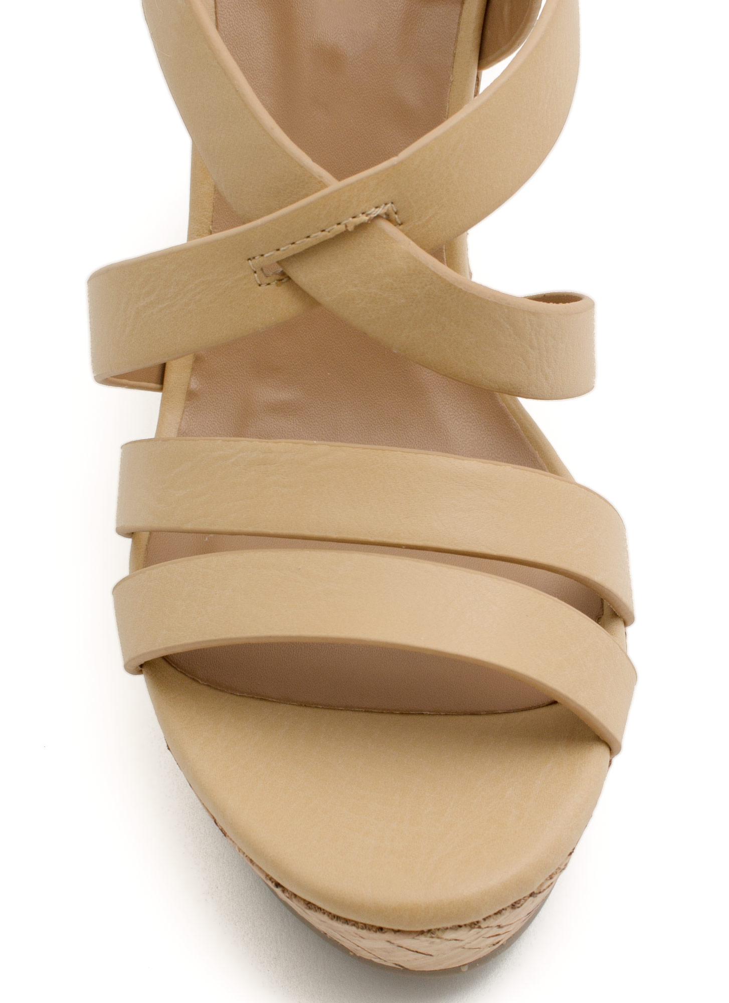What's Strappening Cork Wedges NATURAL