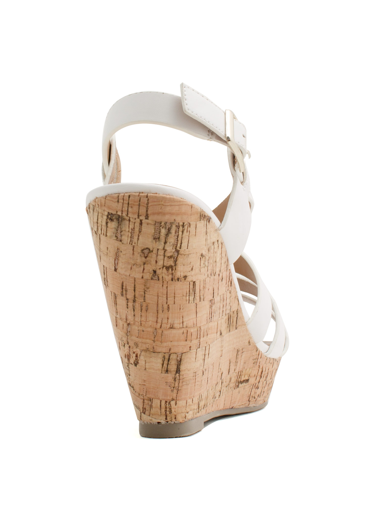 What's Strappening Cork Wedges WHITE