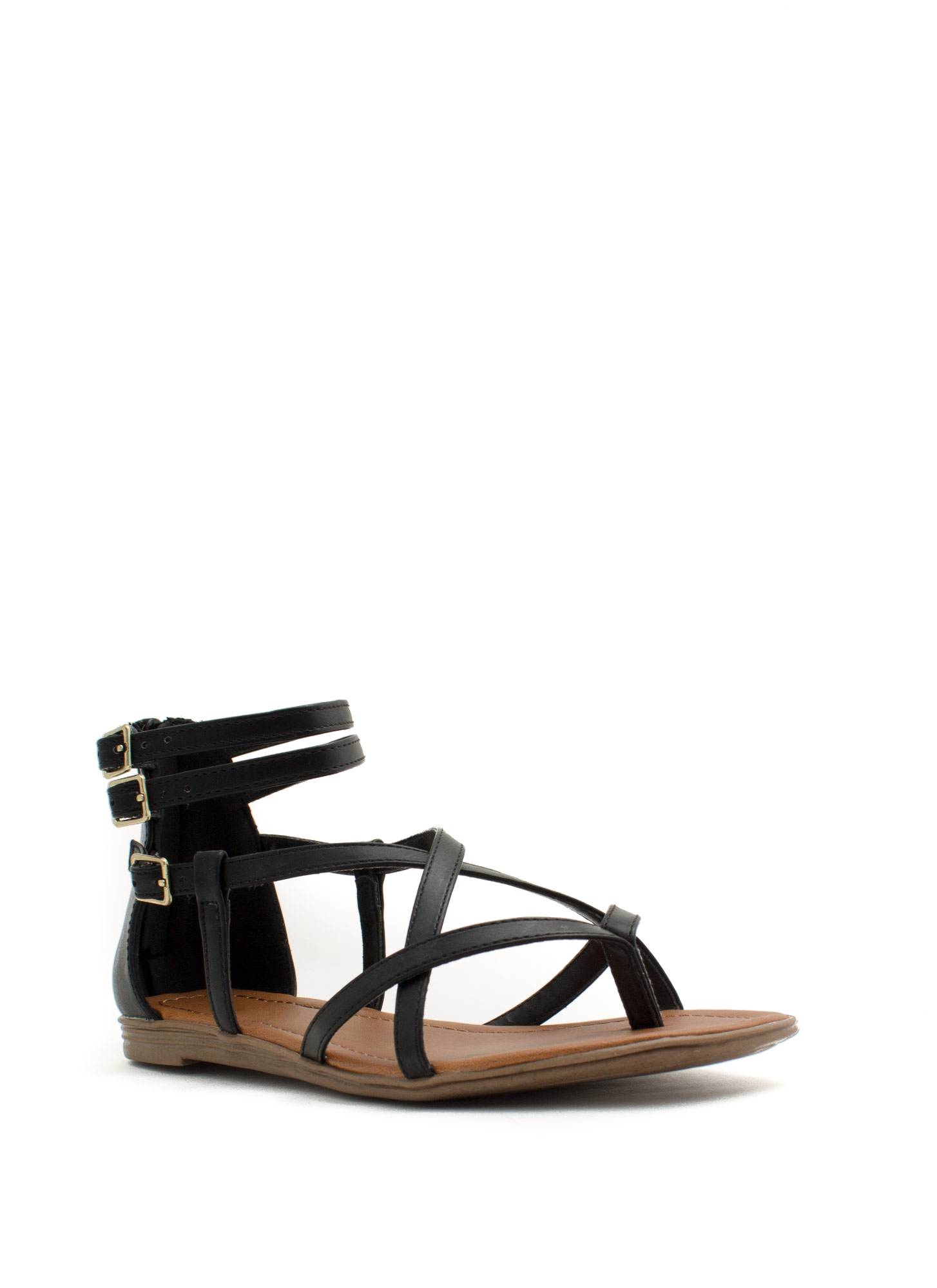 Cross Paths Faux Leather Sandals BLACK
