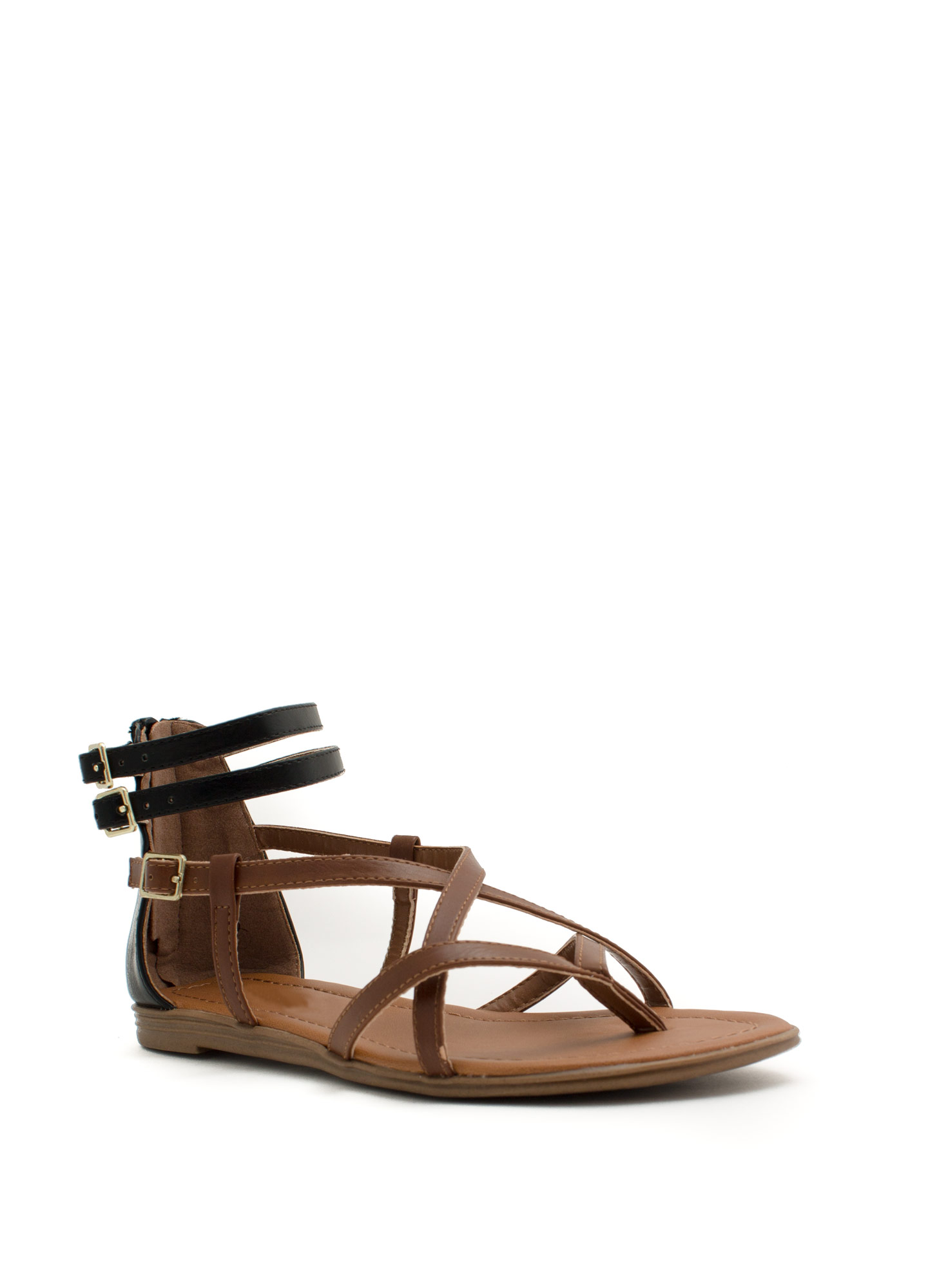 Cross Paths Faux Leather Sandals TANBLACK