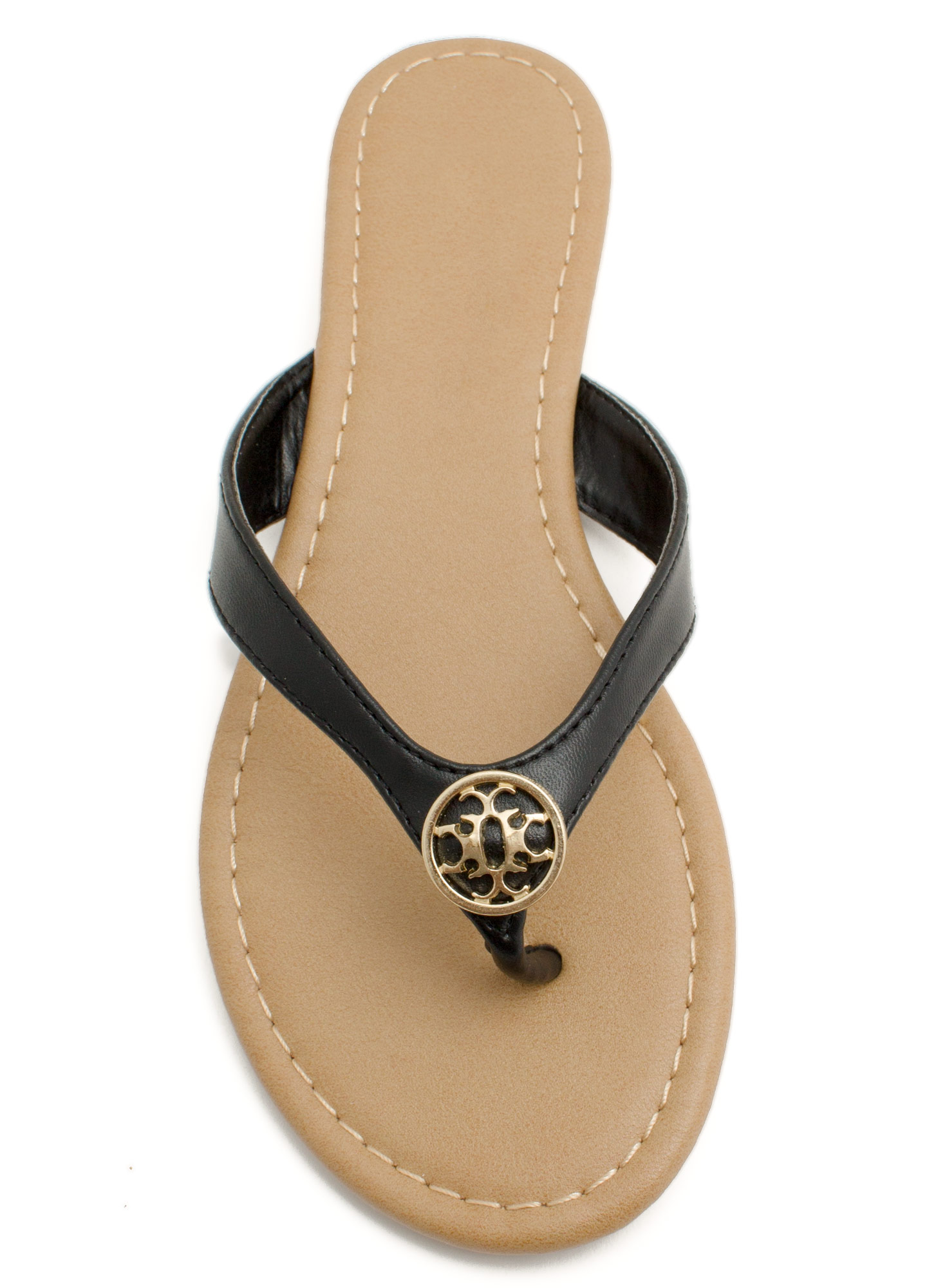 Mini Medallion Thong Sandals BLACK