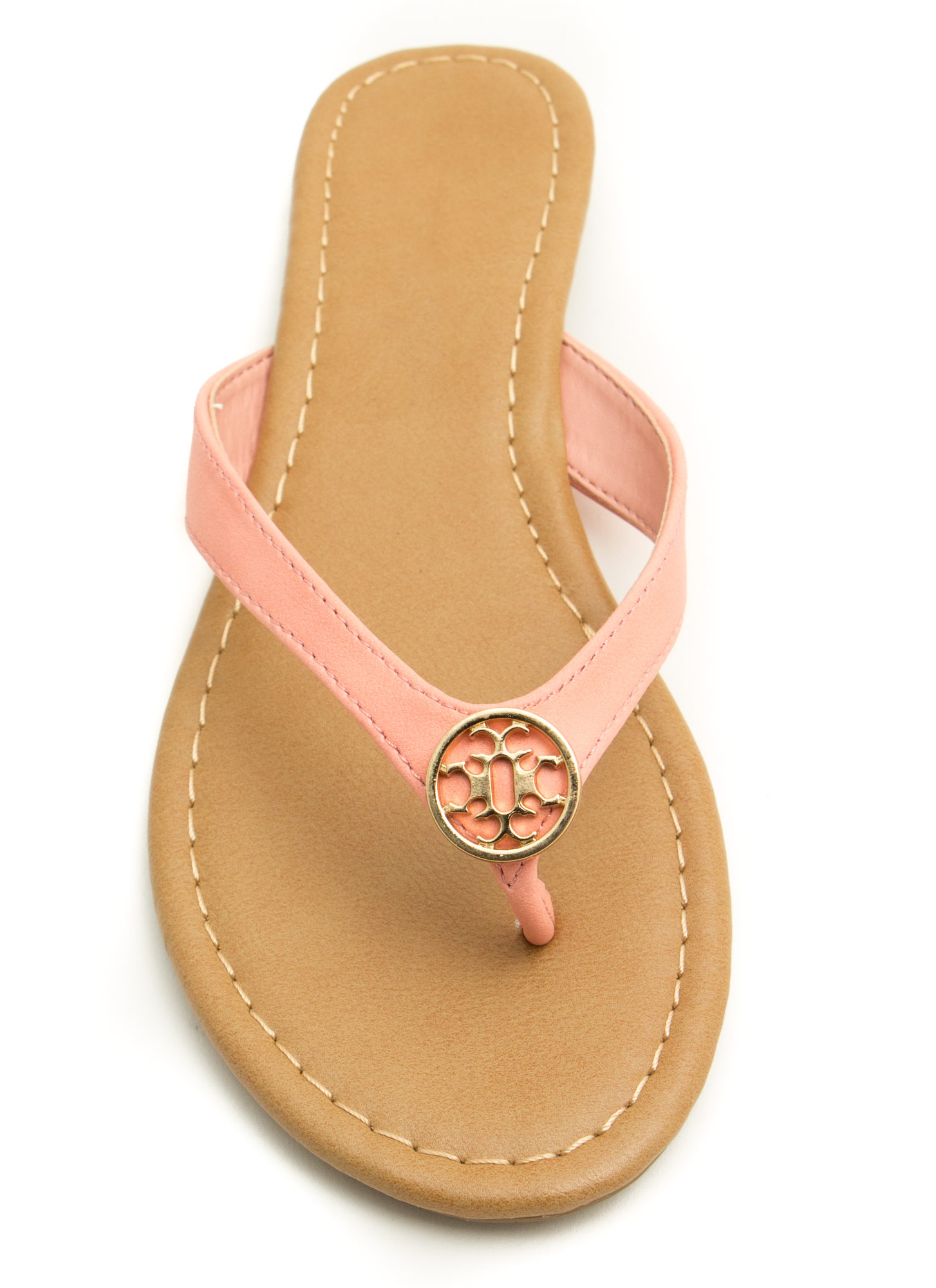 Mini Medallion Thong Sandals PEACH