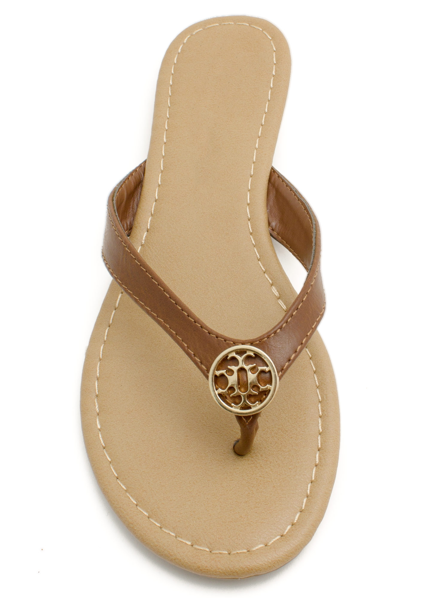Mini Medallion Thong Sandals TAN