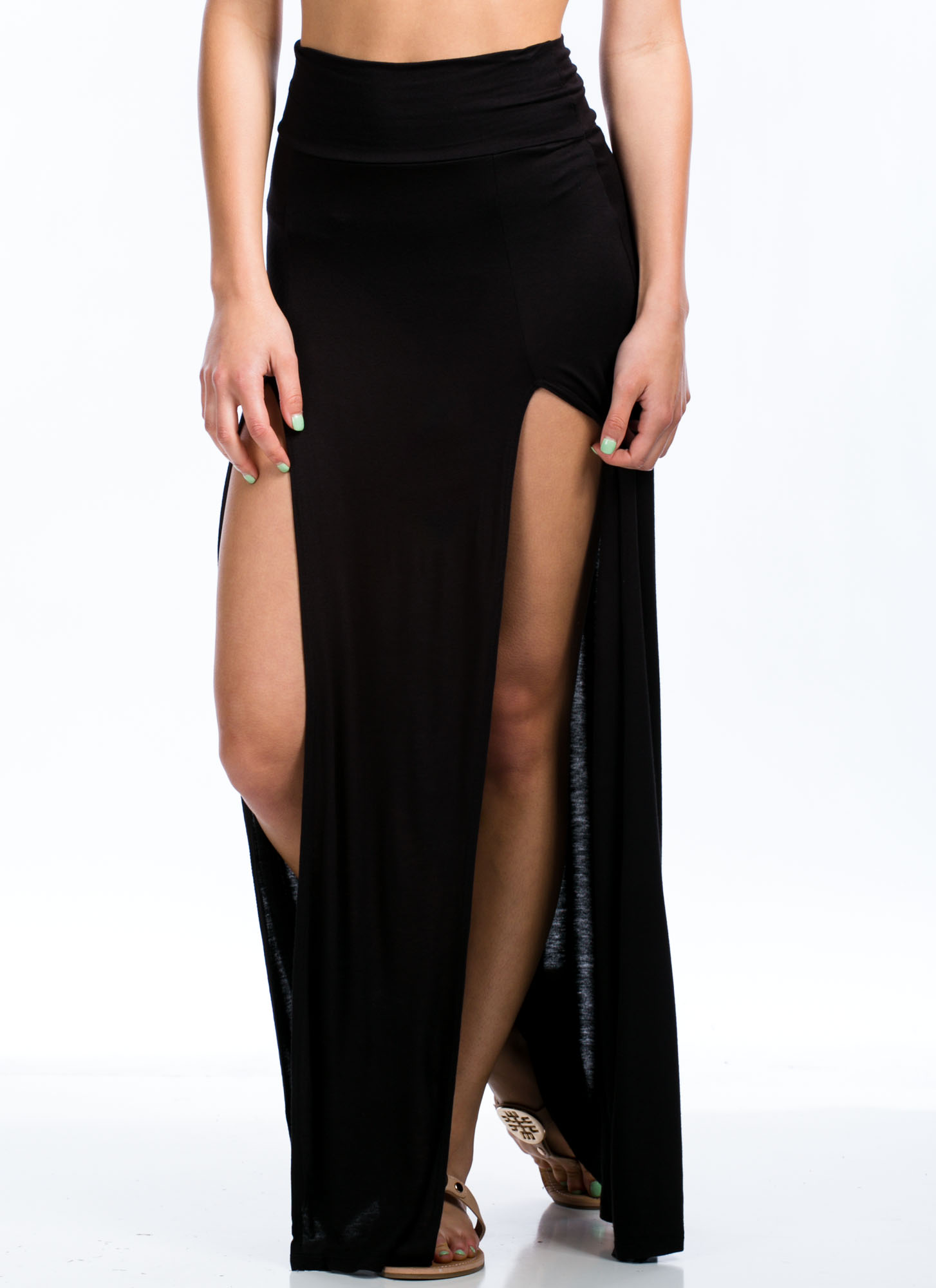 Double The Trouble Slit Maxi Skirt BLACK