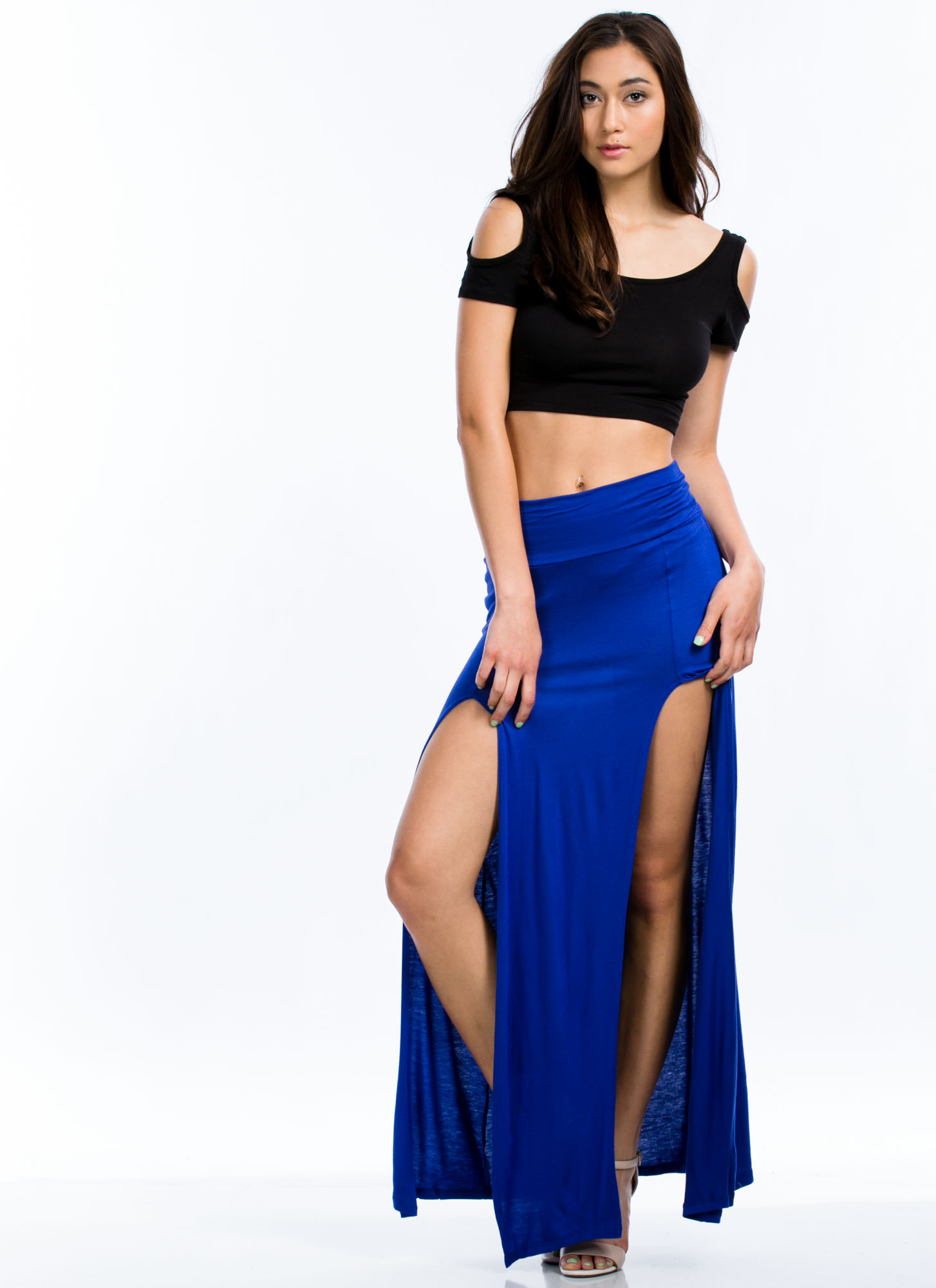 Double The Trouble Slit Maxi Skirt ROYAL