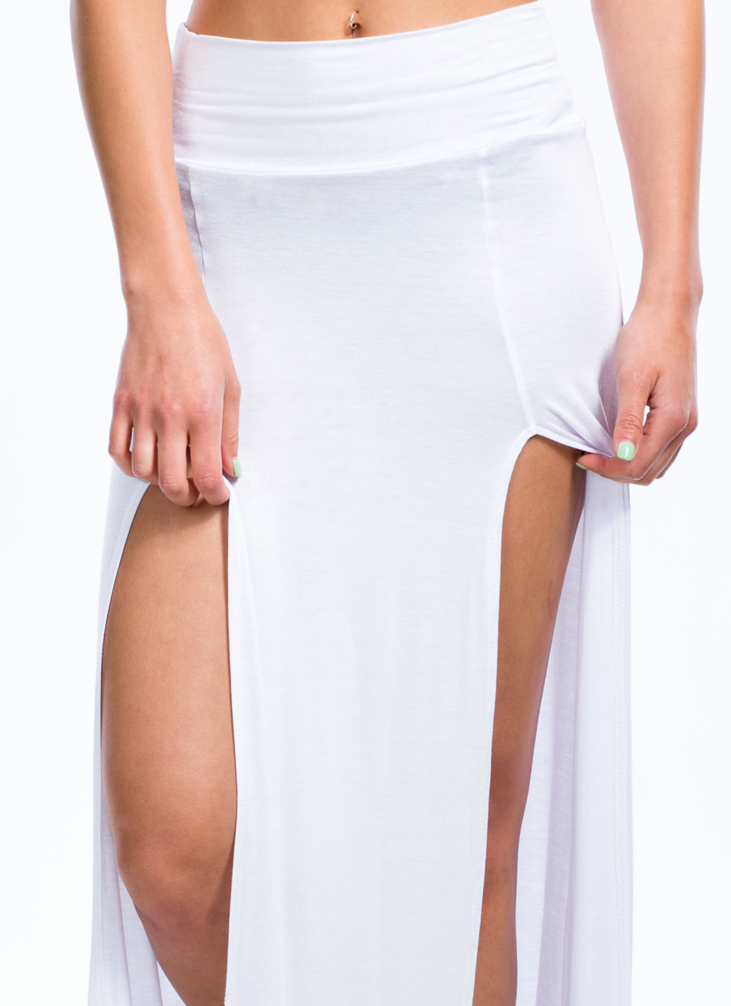 Double The Trouble Slit Maxi Skirt WHITE
