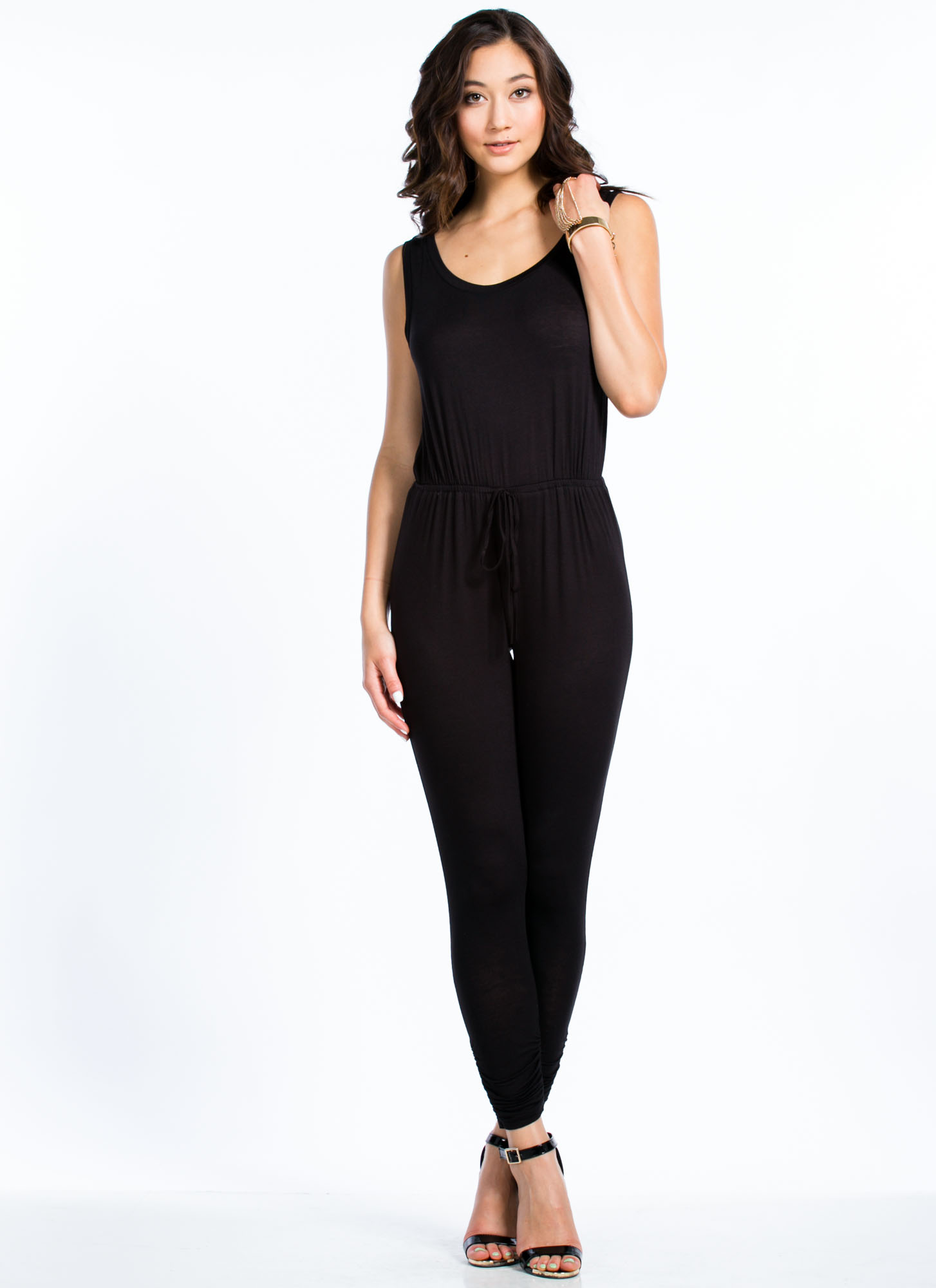 Got Ur Back Surplice Jumpsuit BLACK