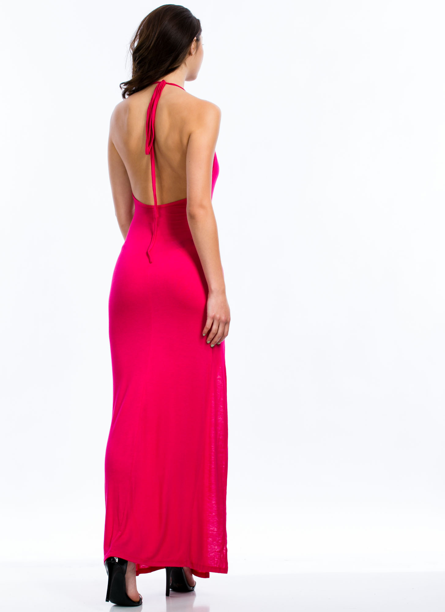 Will Beg 4 Leg Halter Maxi Dress FUCHSIA