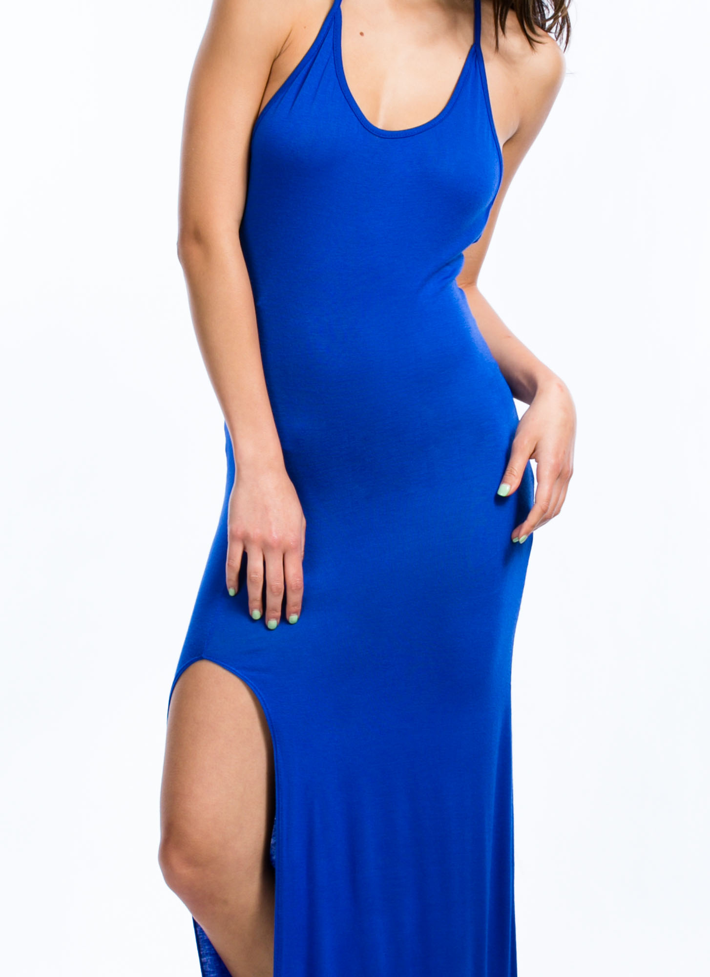 Will Beg 4 Leg Halter Maxi Dress ROYAL